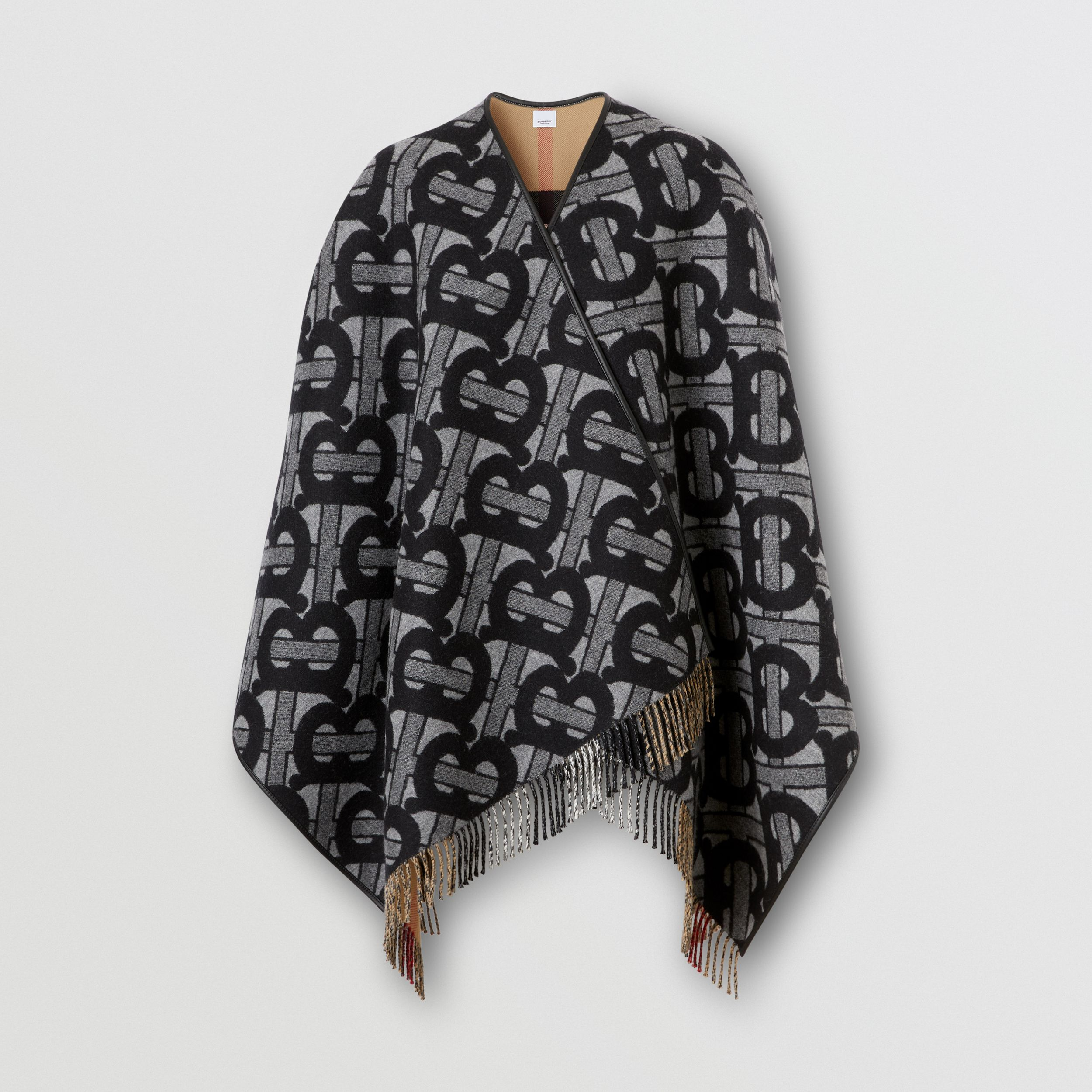 Monogram Merino Wool Cashmere Jacquard Cape in Graphite - Women | Burberry United Kingdom - 4