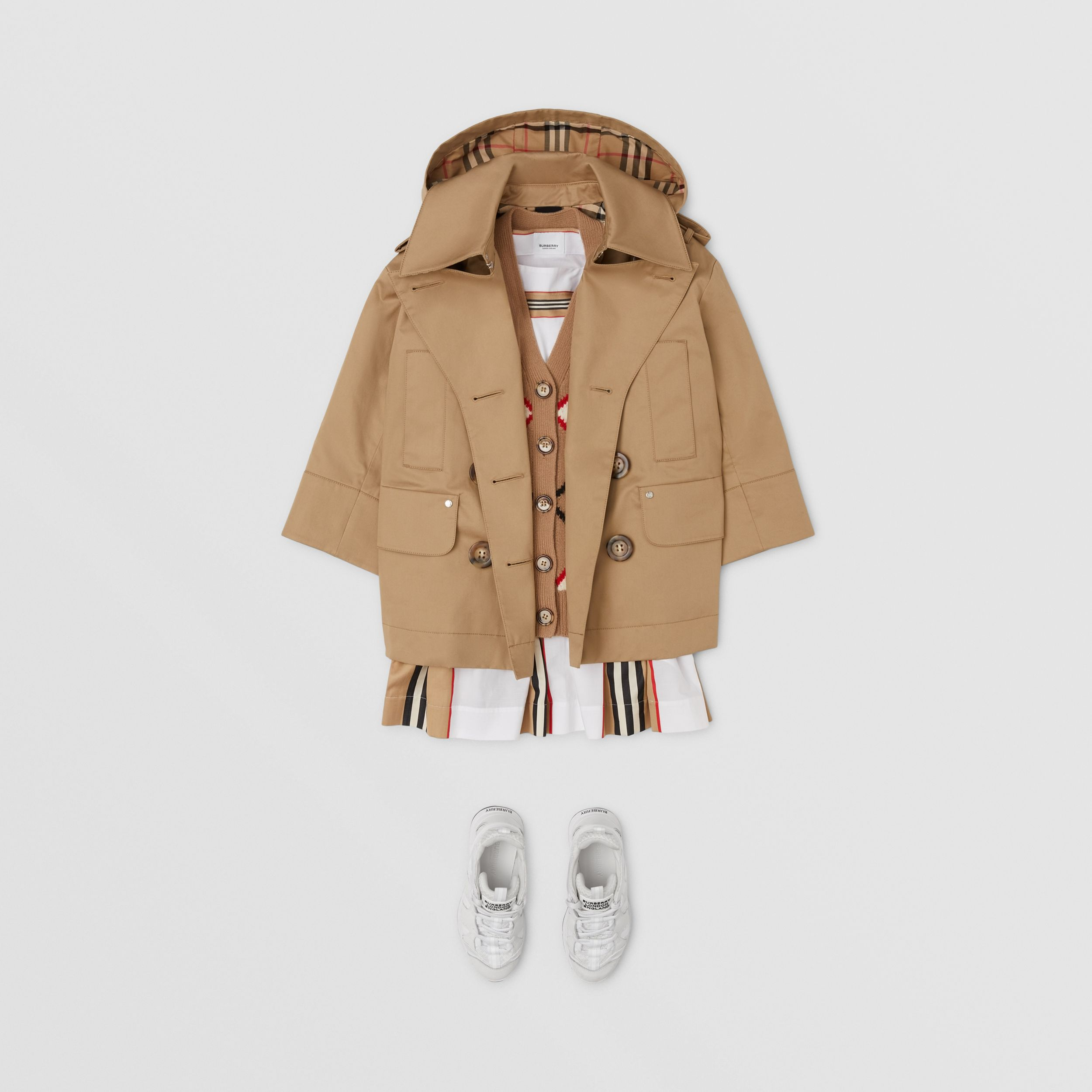 Cotton Twill Hooded Trench Coat in Honey | Burberry Canada - 3
