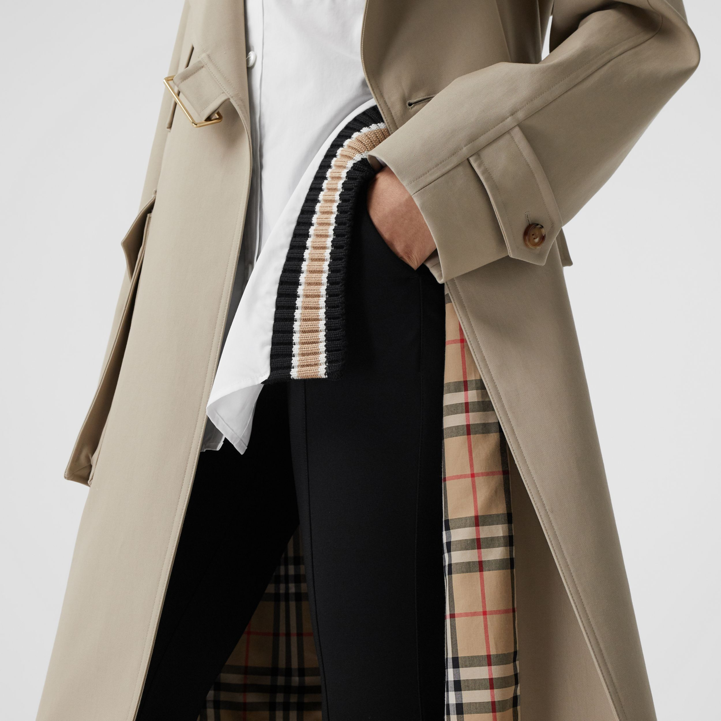 Cotton Gabardine Tielocken Coat in Stone - Women | Burberry - 3