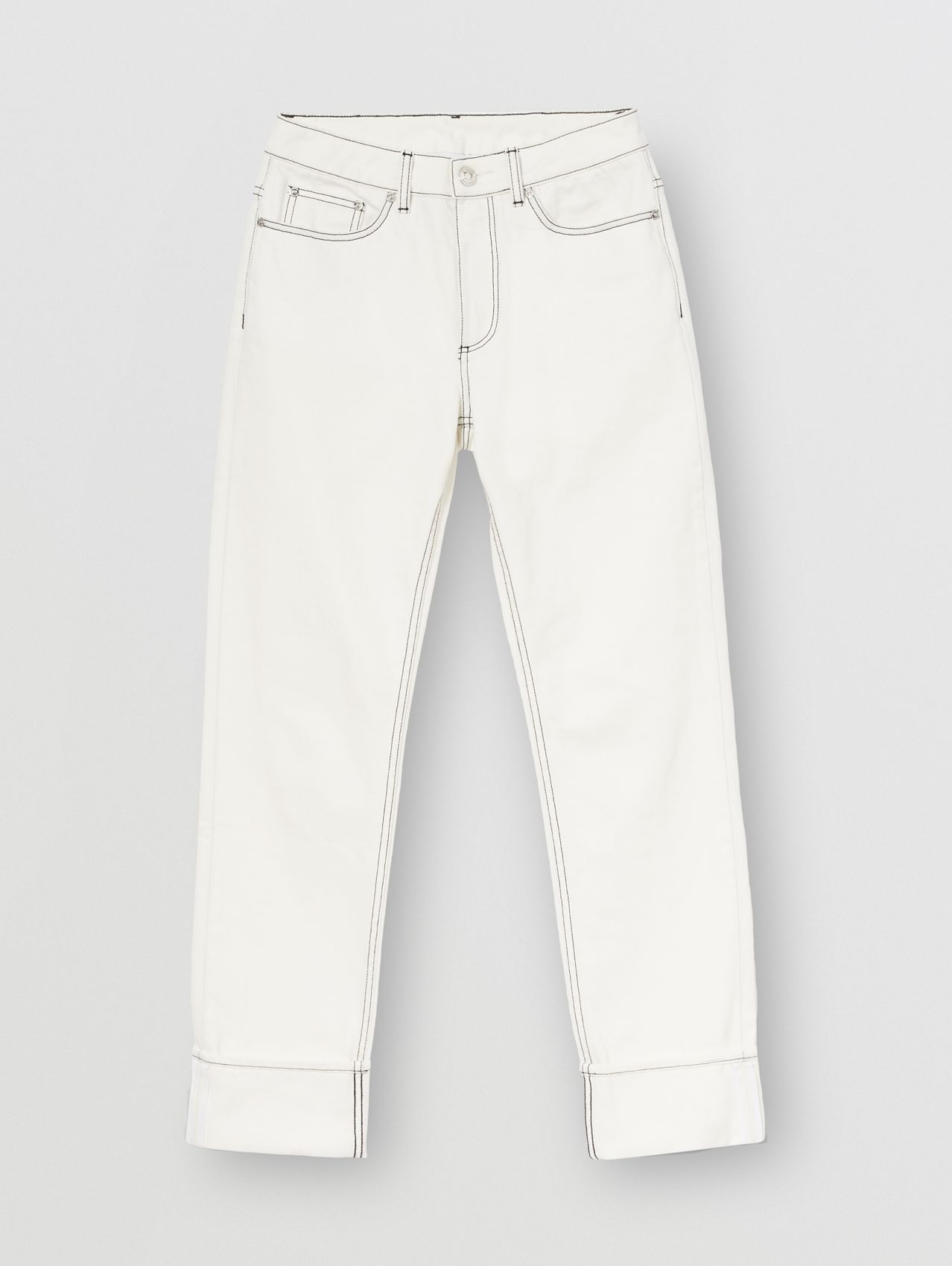 Straight Fit Topstitched Washed Jeans in Natural White