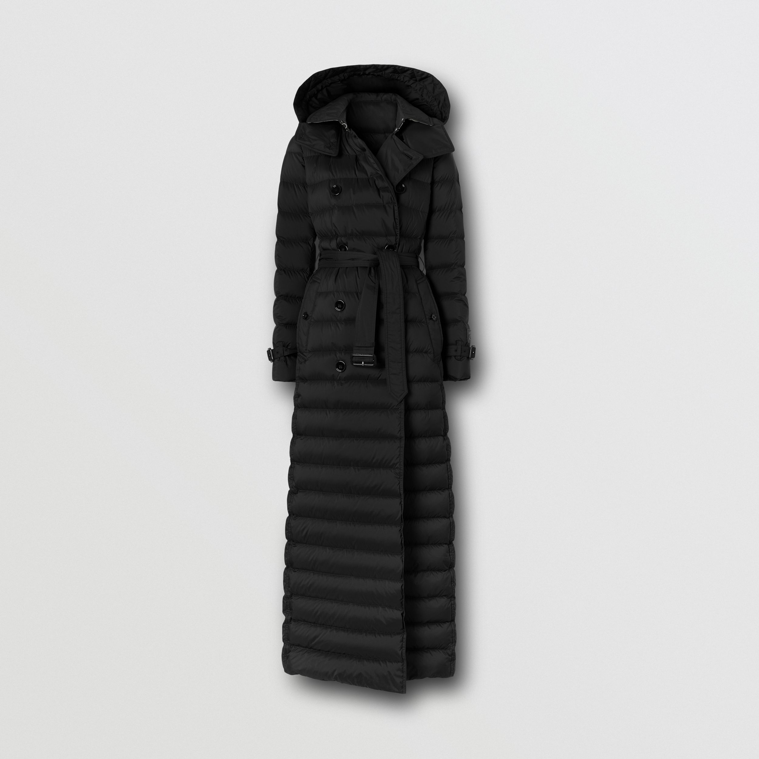 Logo Appliqué Detachable Hood Puffer Coat in Black - Women | Burberry United States - 4