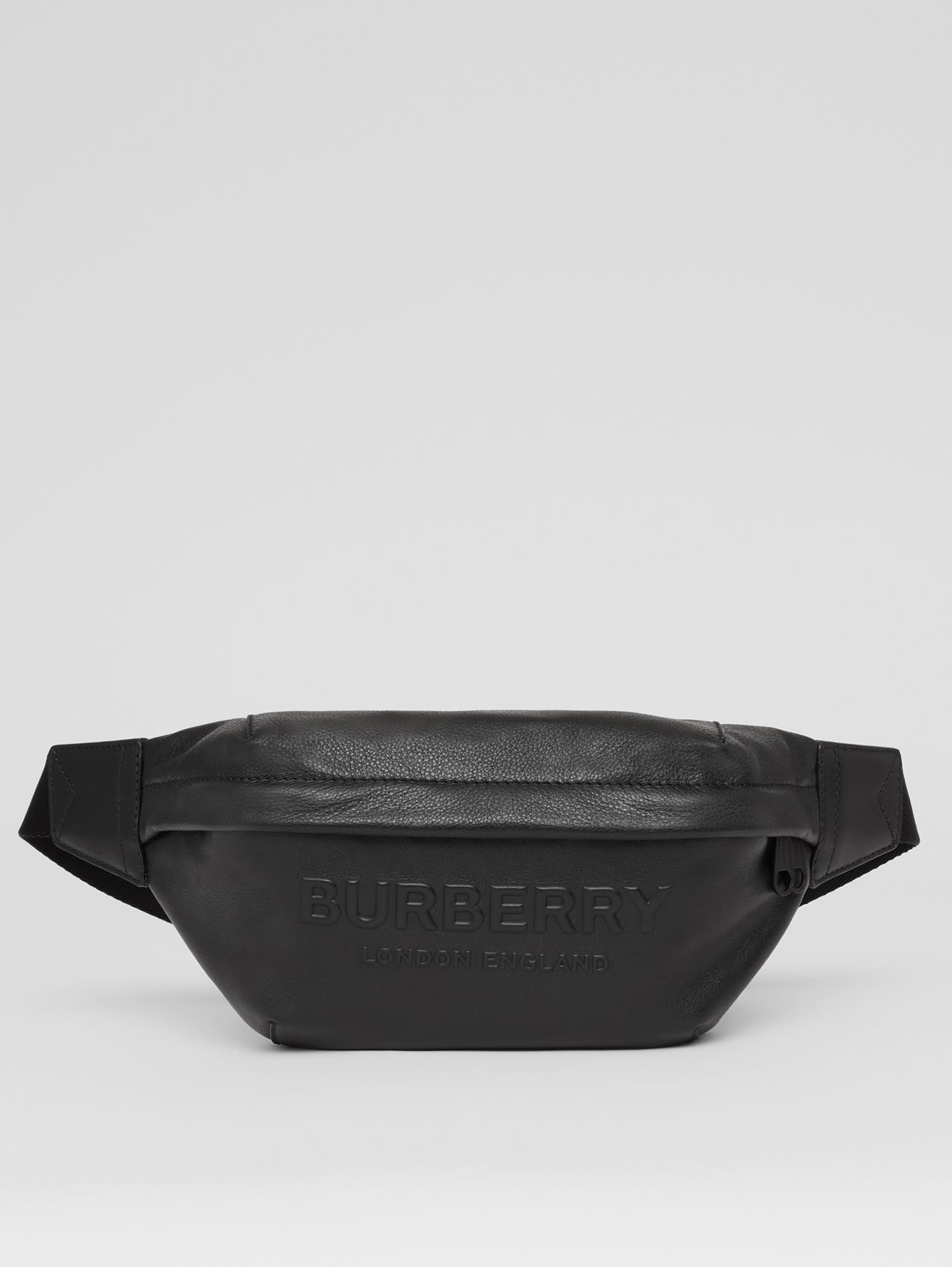 Logo Embossed Leather Sonny Bum Bag in Black