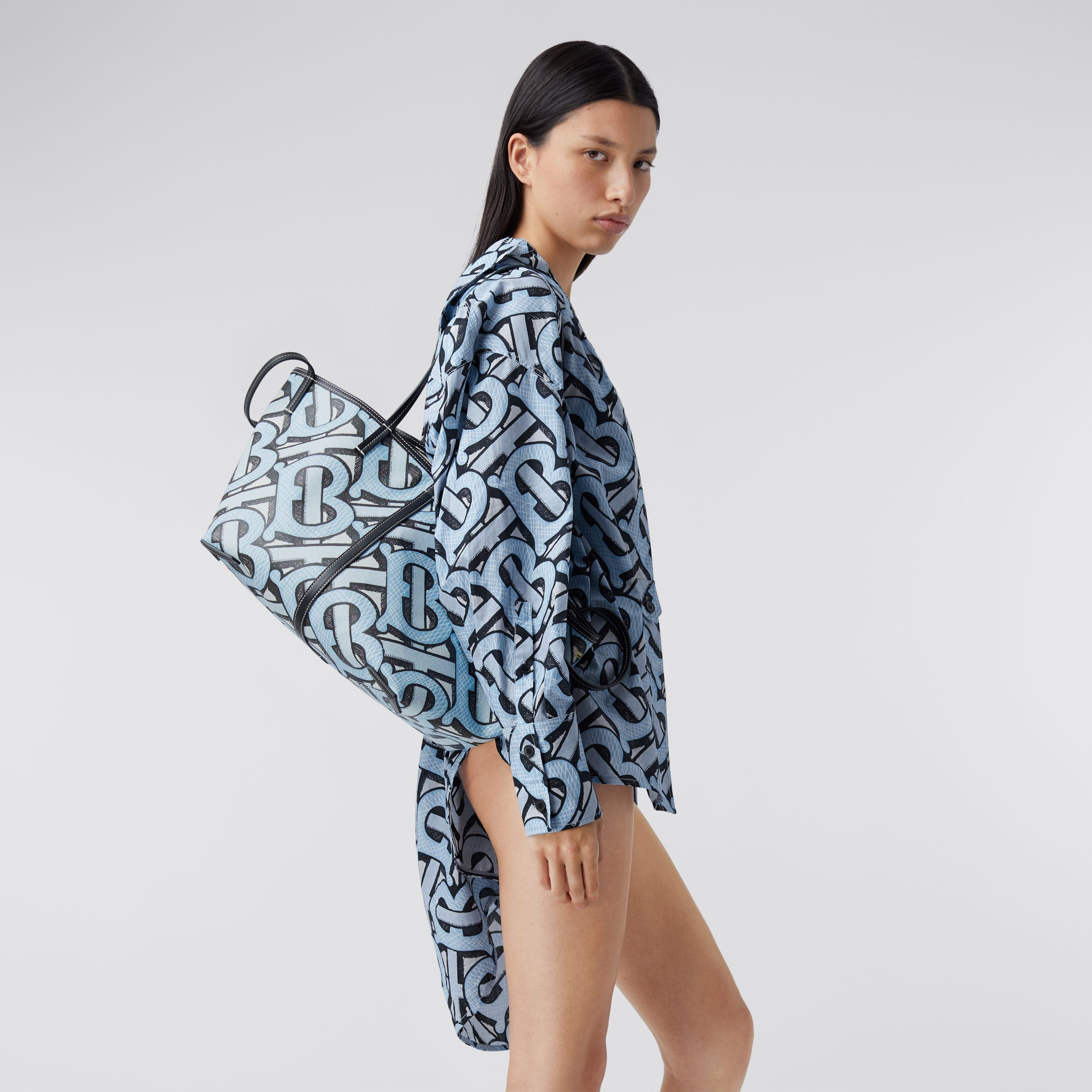 Mini Monogram Print E-canvas Beach Tote in Pale Azure | Burberry Hong Kong S.A.R. - 3