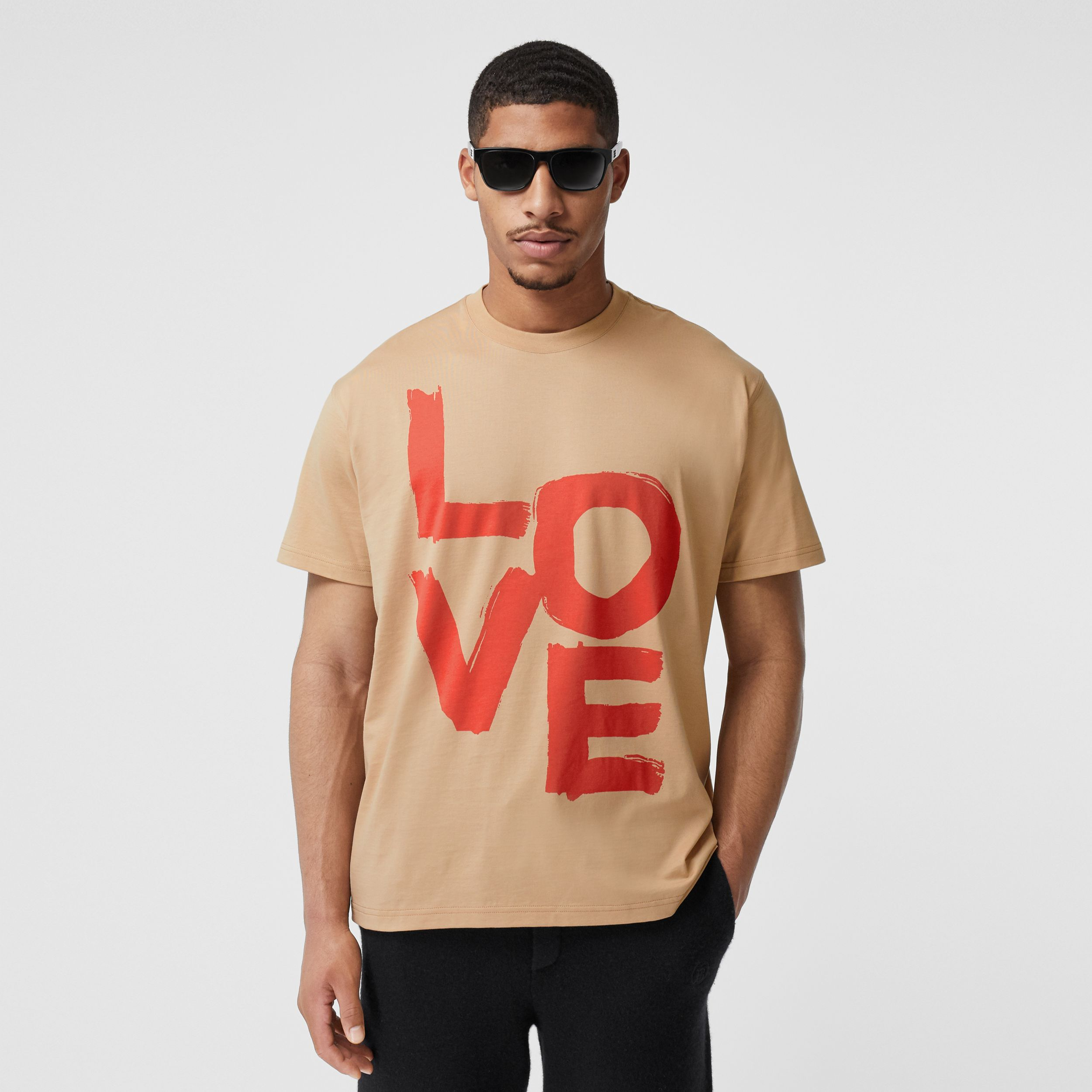 Love Print Cotton Oversized T-shirt in Soft Fawn - Men | Burberry - 1