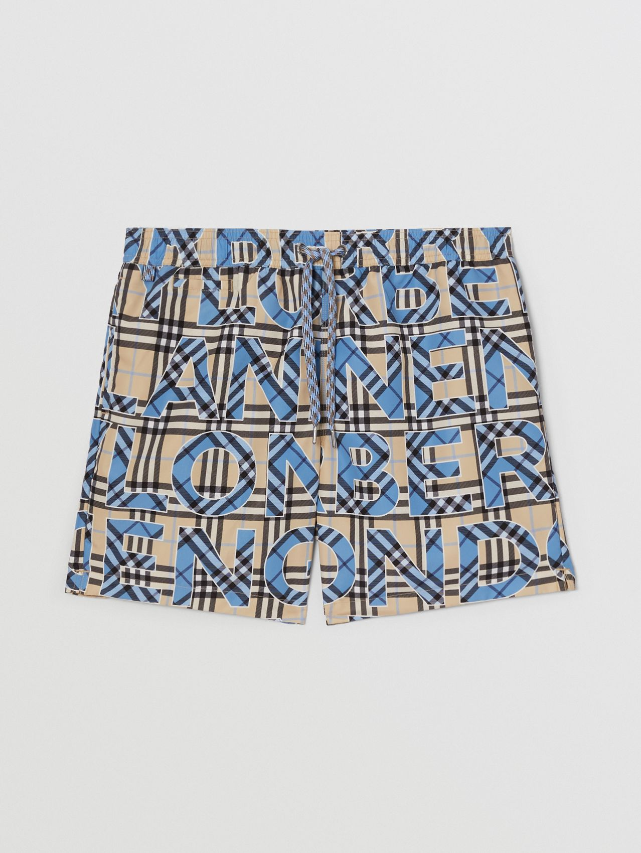 Logo and Check Print Drawcord Swim Shorts in Vivid Cobalt