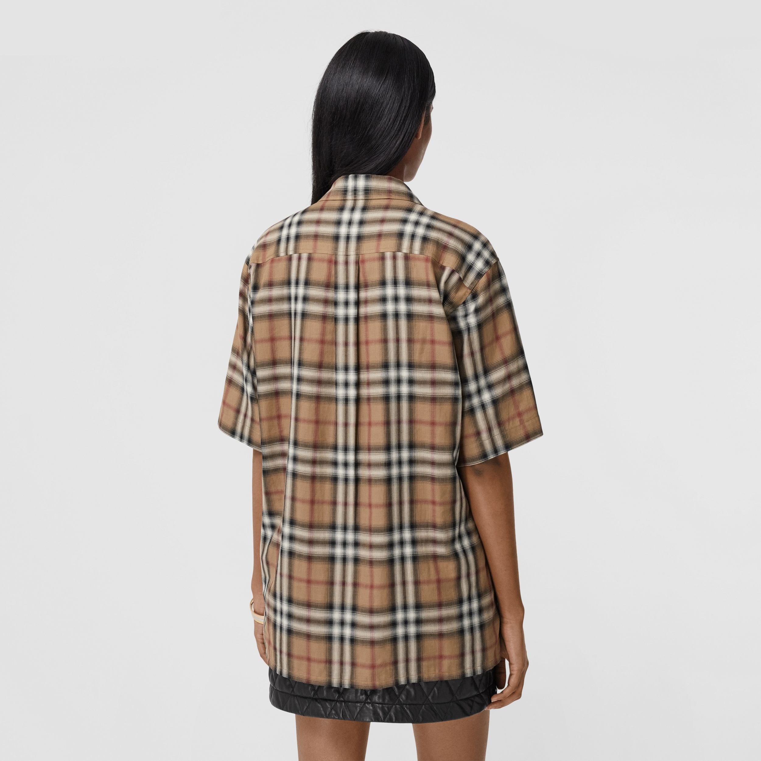 Ombré Check Cotton Twill Bowling Shirt in Birch Brown - Women | Burberry - 3