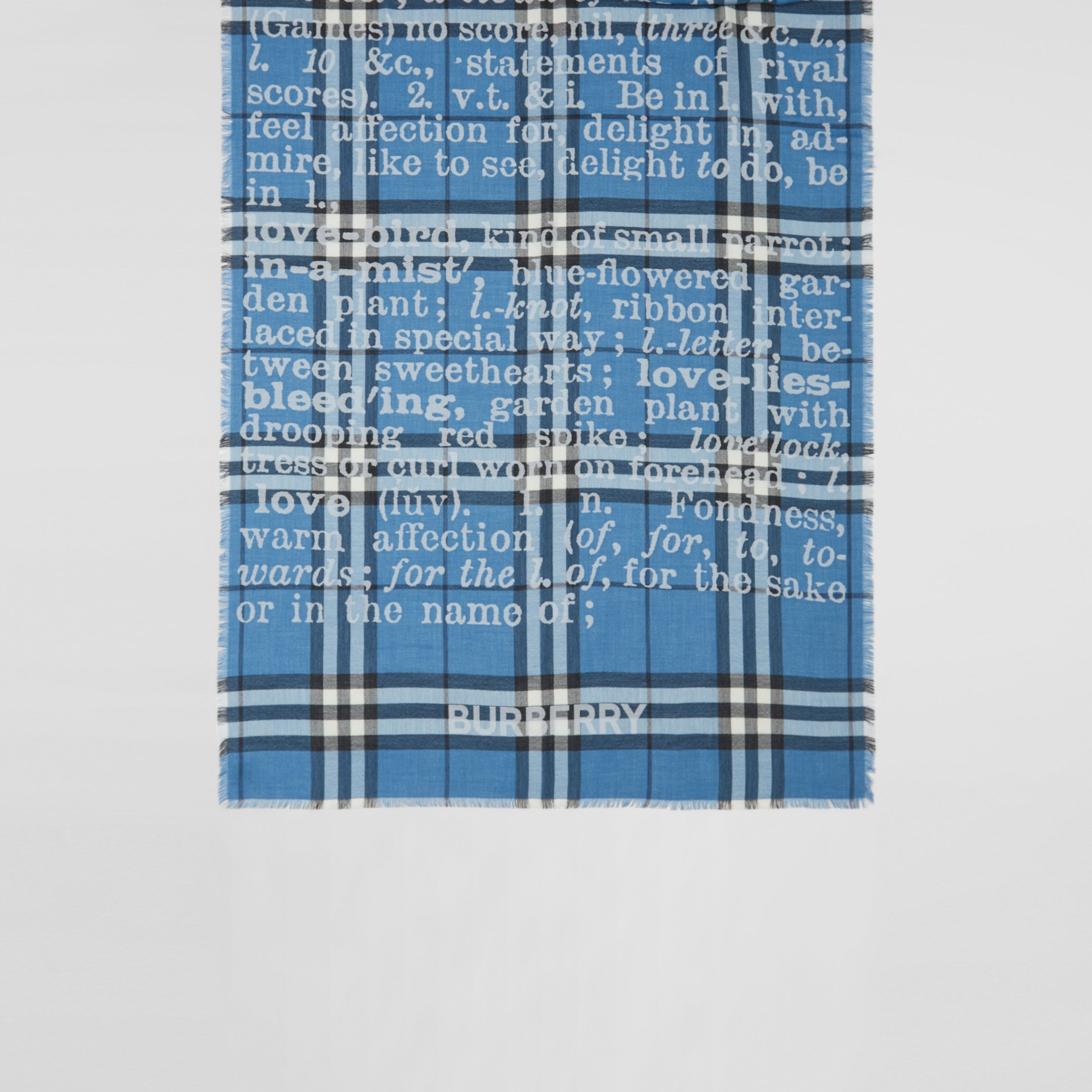 Love and Check Cashmere Jacquard Scarf in Pale Blue | Burberry United States - 4