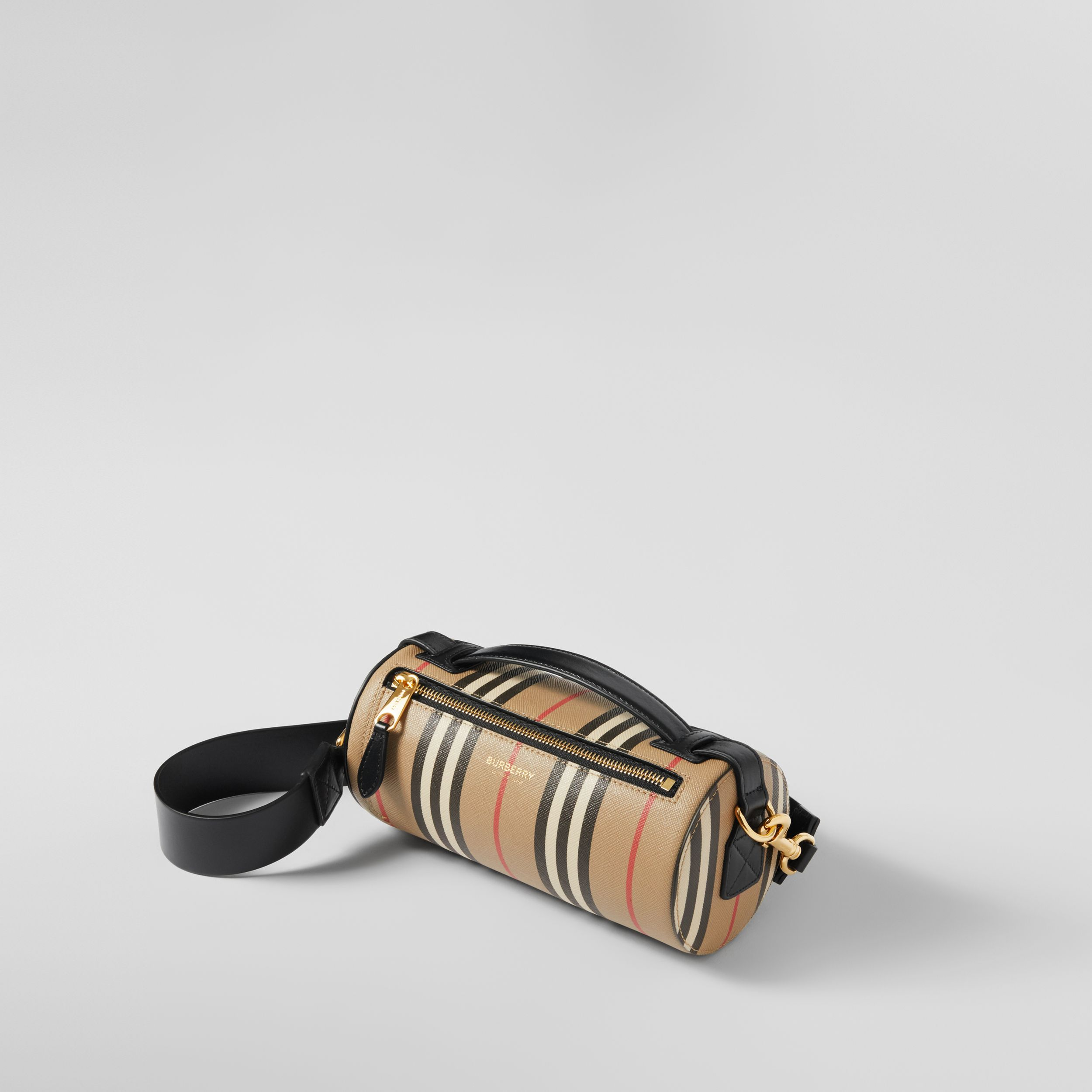 The Icon Stripe E-canvas and Leather Barrel Bag in Archive Beige - Women | Burberry - 4