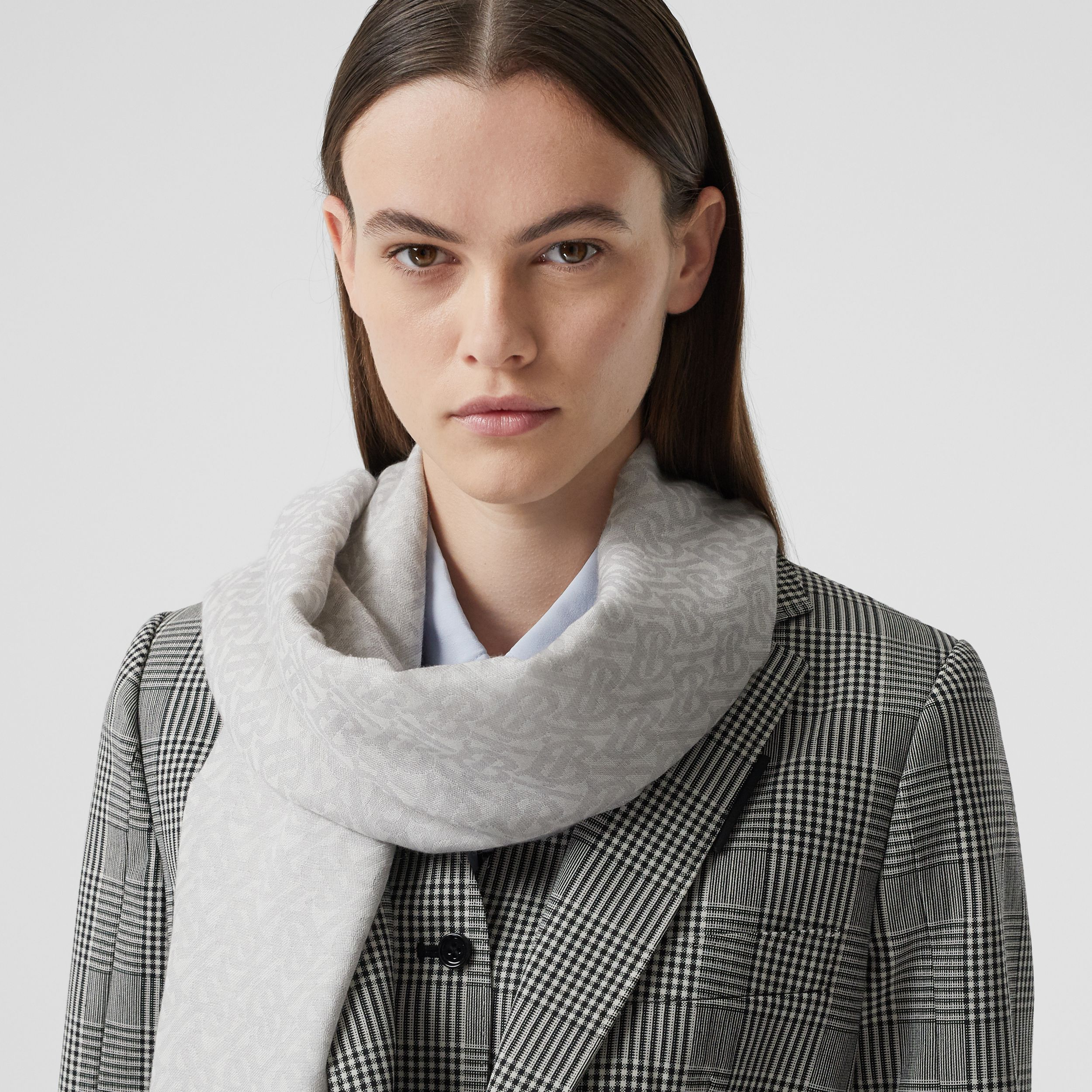Monogram Wool Silk Jacquard Scarf in Pebble Grey | Burberry - 3