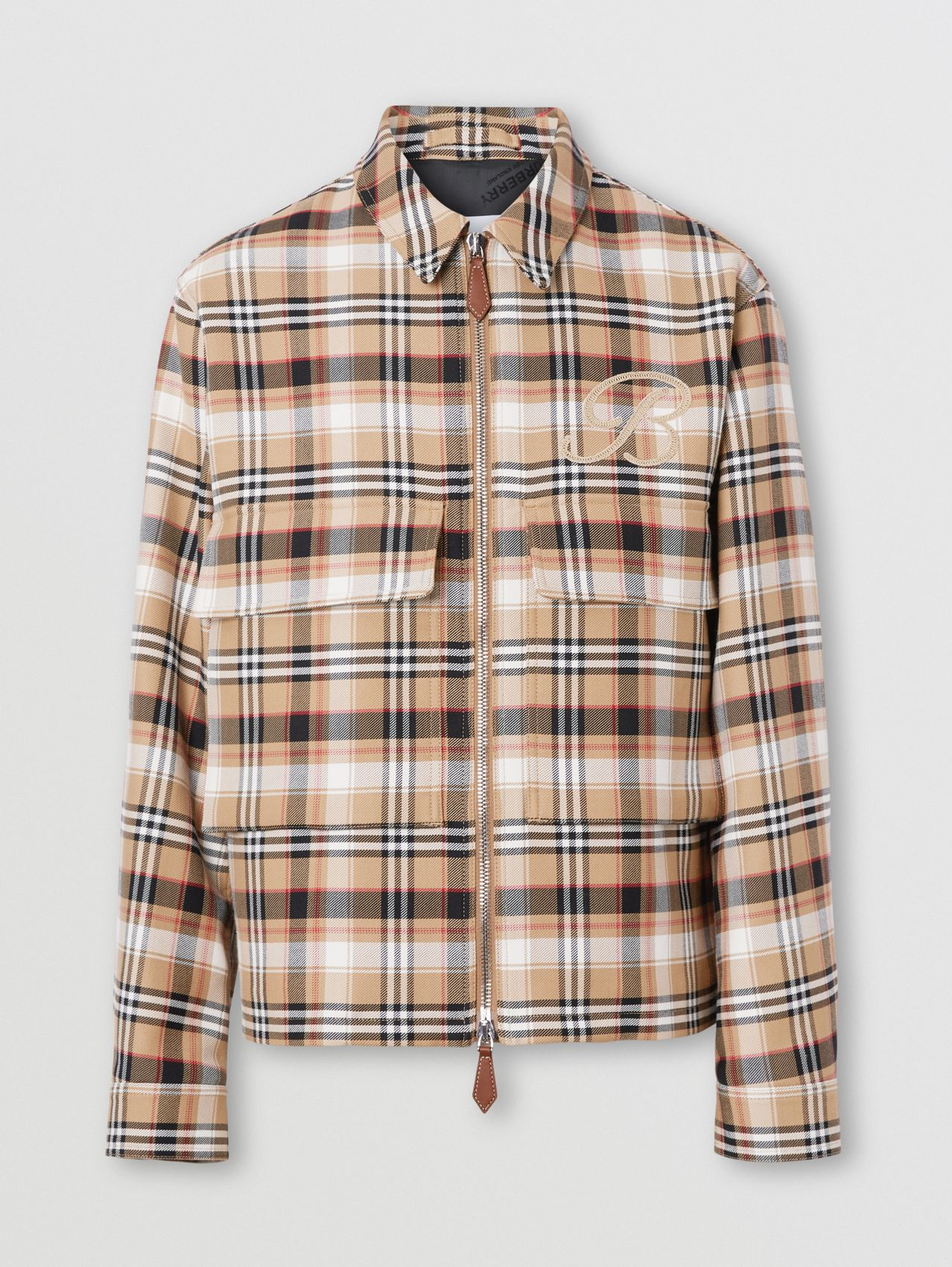 Embroidered B Motif Check Harrington Jacket in Archive Beige