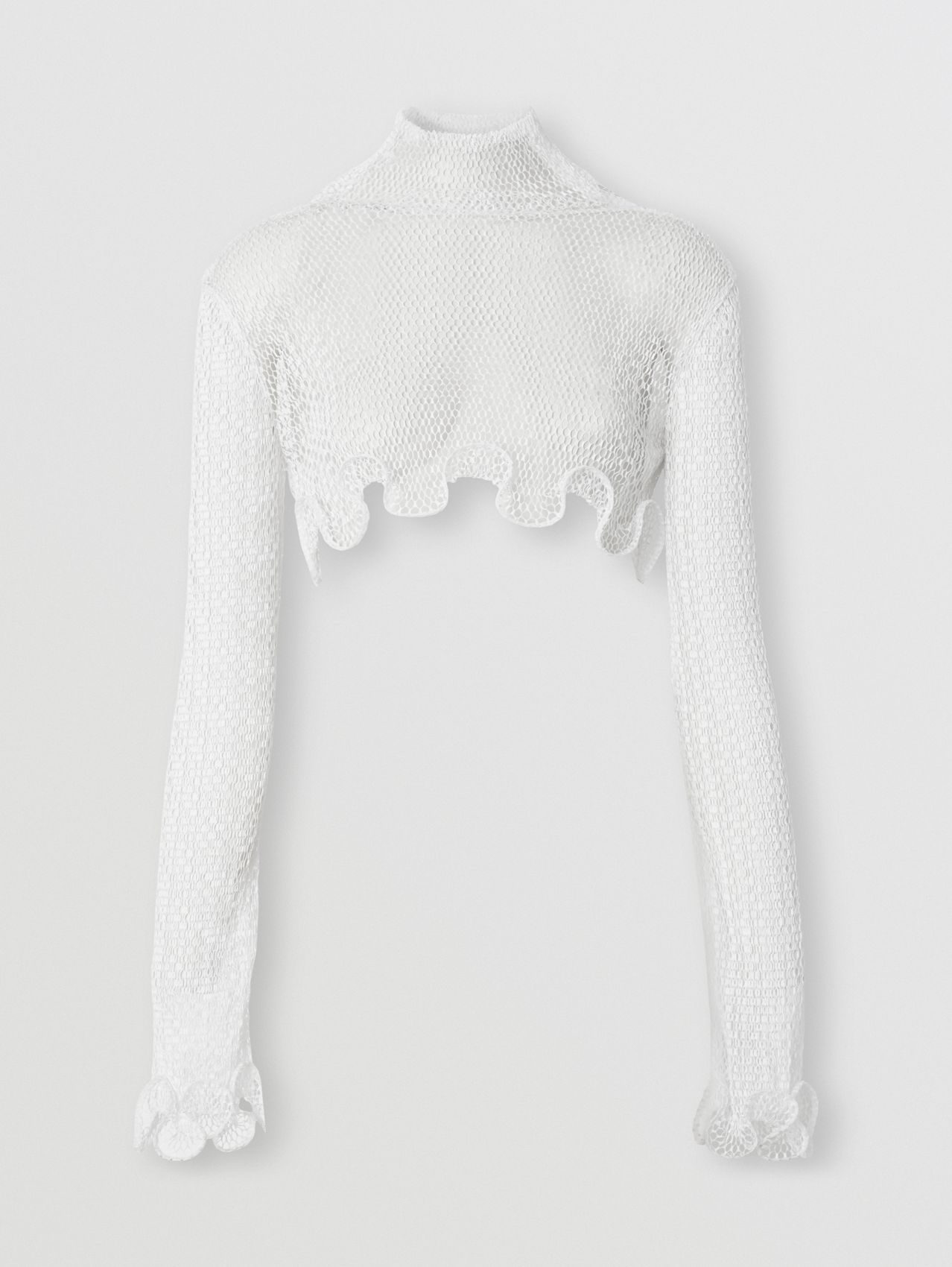 Ruffled Fishnet Cropped Turtleneck Top in Optic White