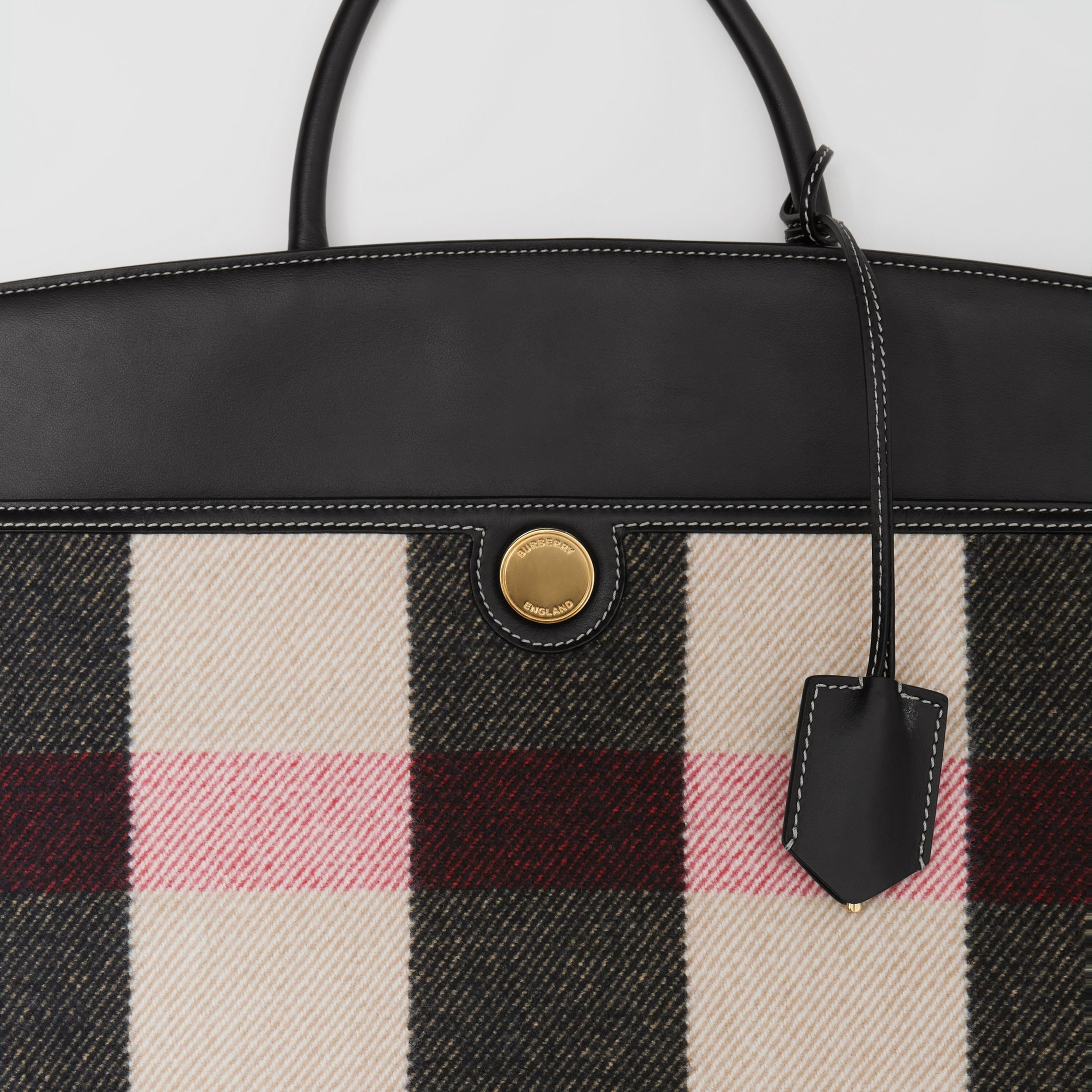 Check Merino Wool Cashmere Society Top Handle Bag in Archive Beige - Women | Burberry United Kingdom - 2