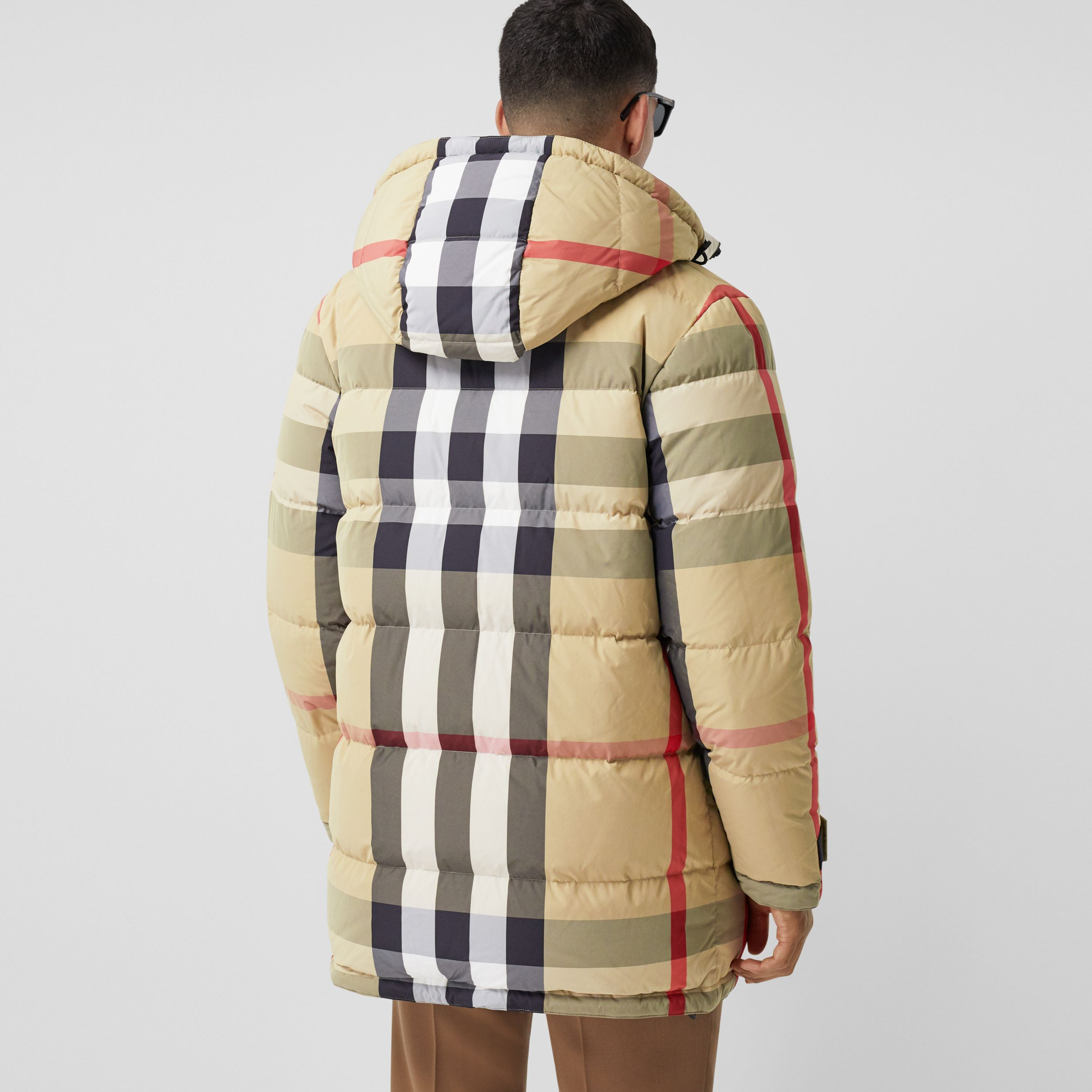 Reversible Check Recycled Nylon Puffer Jacket in Archive Beige/olive - Men | Burberry - 3