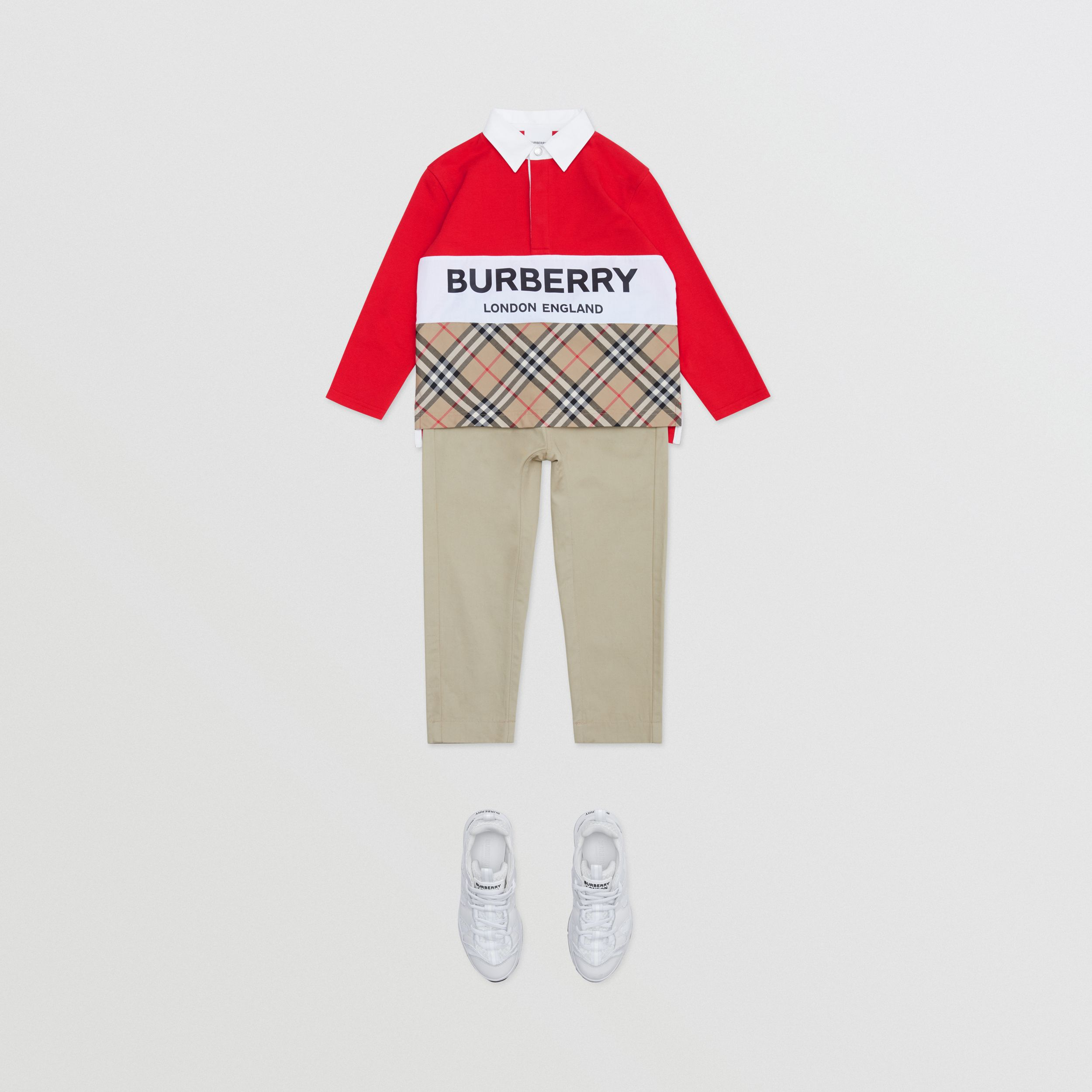 Long-sleeve Logo Print Vintage Check Panel Polo Shirt in Bright Red | Burberry - 3