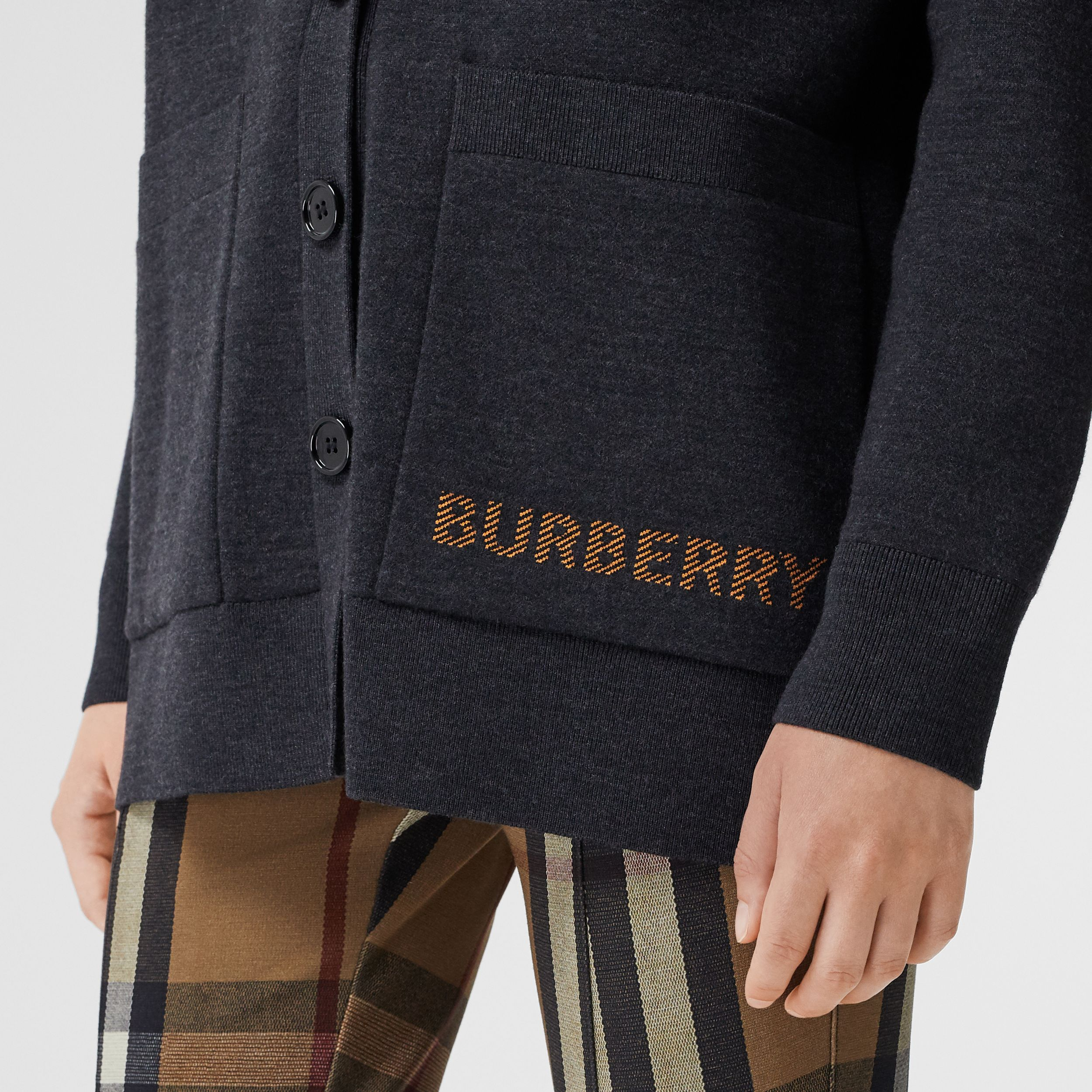 Logo Technical Merino Wool Jacquard Cardigan in Charcoal Melange - Women | Burberry Hong Kong S.A.R. - 2
