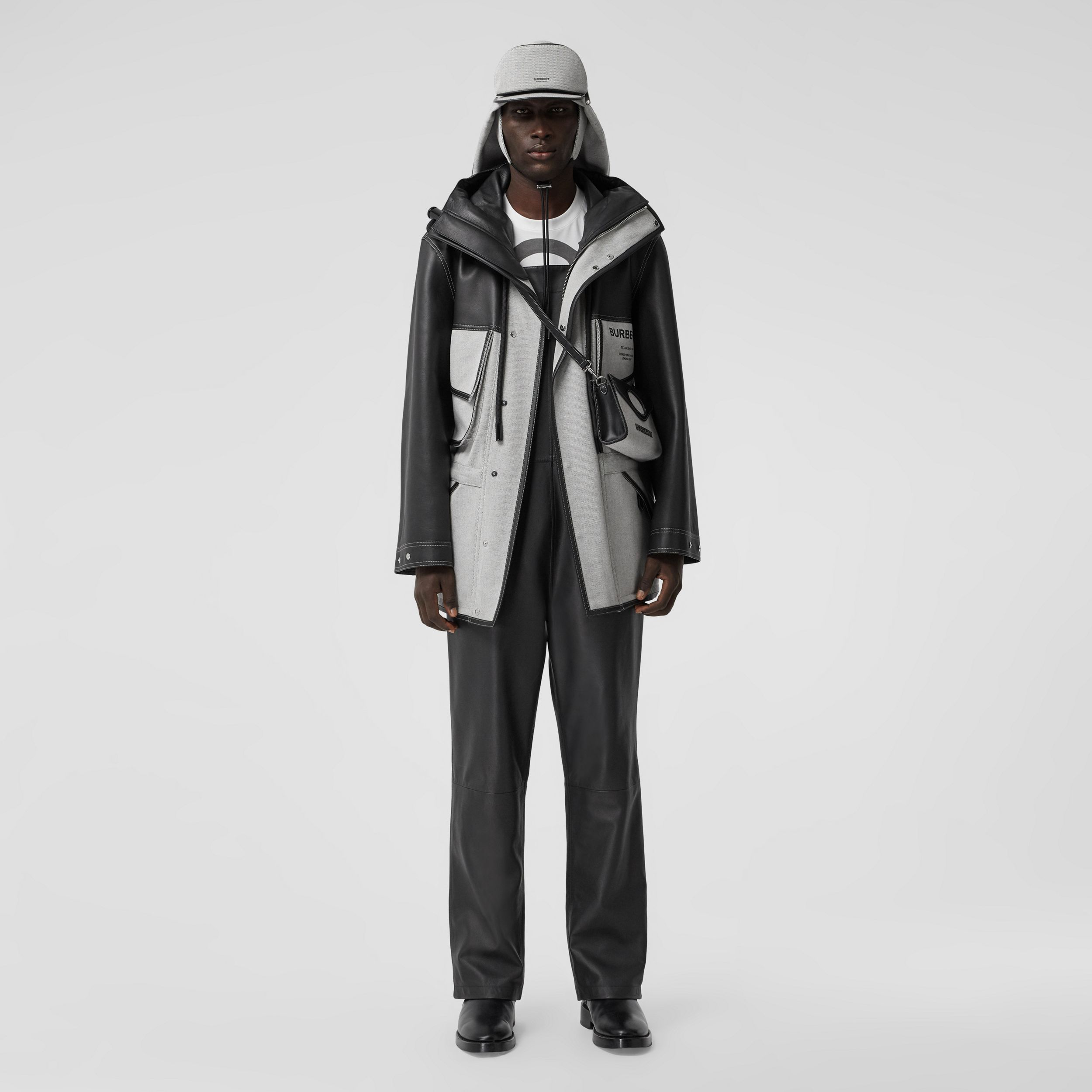 Horseferry Print Leather and Canvas Panelled Parka in Black - Men | Burberry - 1