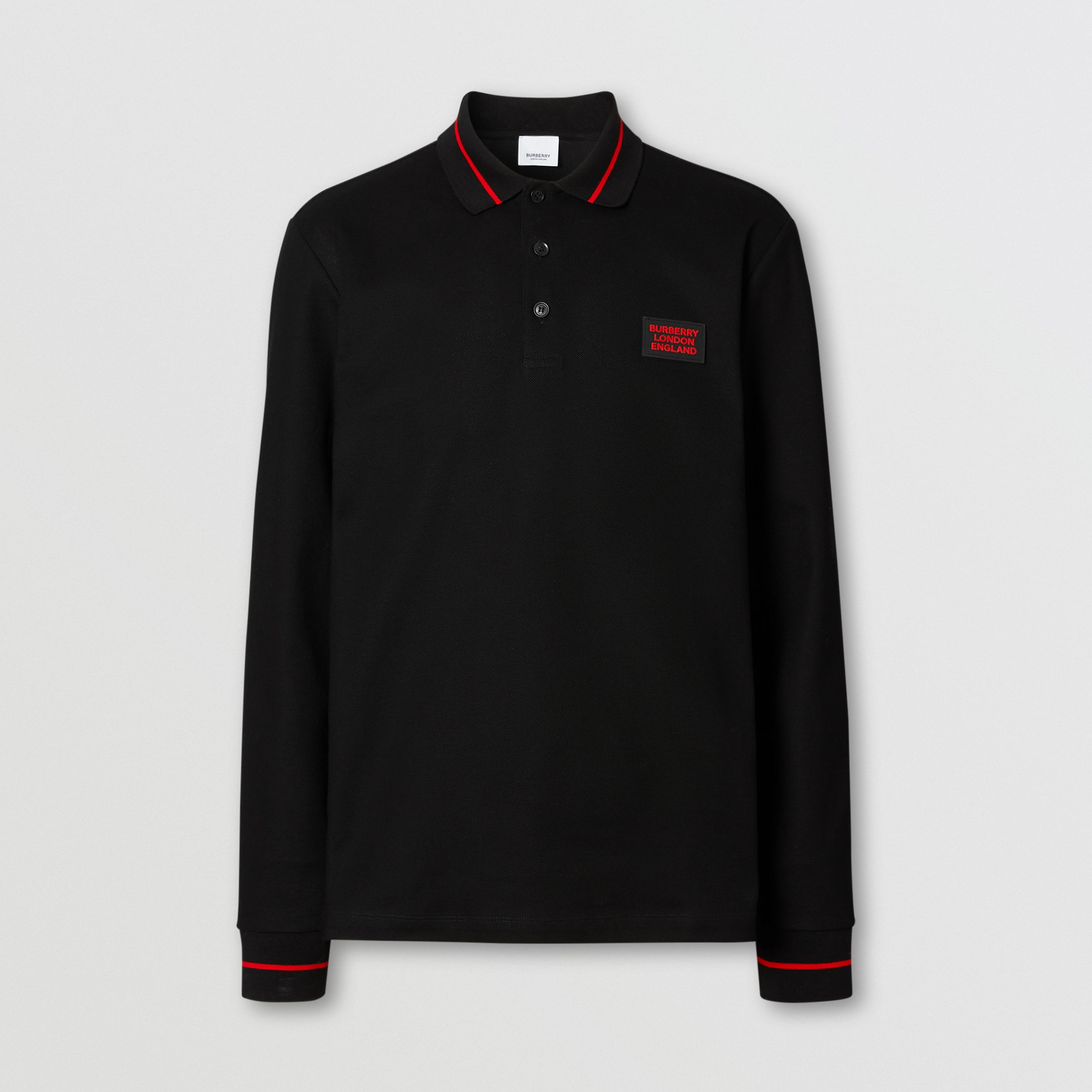 Long-sleeve Logo Appliqué Cotton Polo Shirt in Black - Men | Burberry - 4