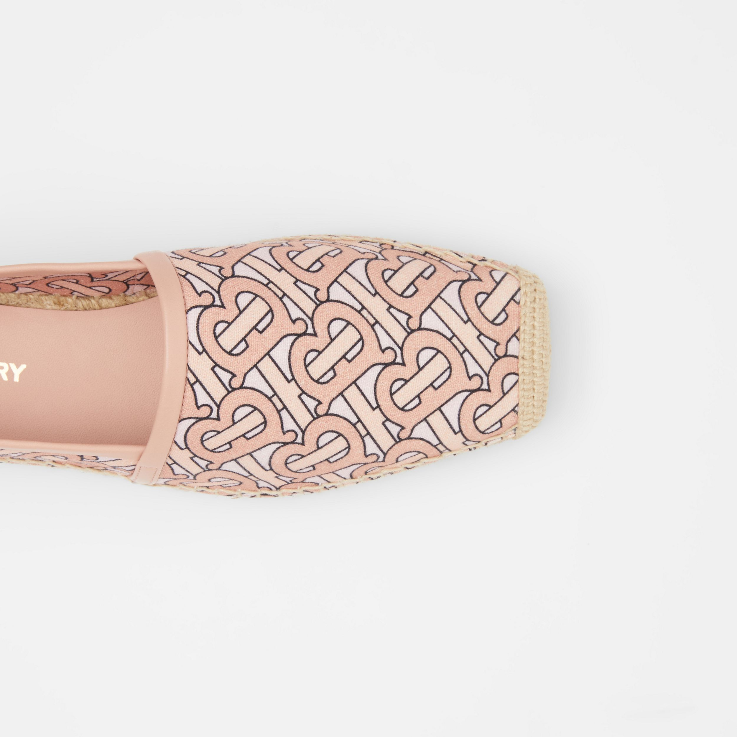 Monogram Print Cotton Canvas Espadrilles in Pale Copper Pink - Women | Burberry Canada - 2