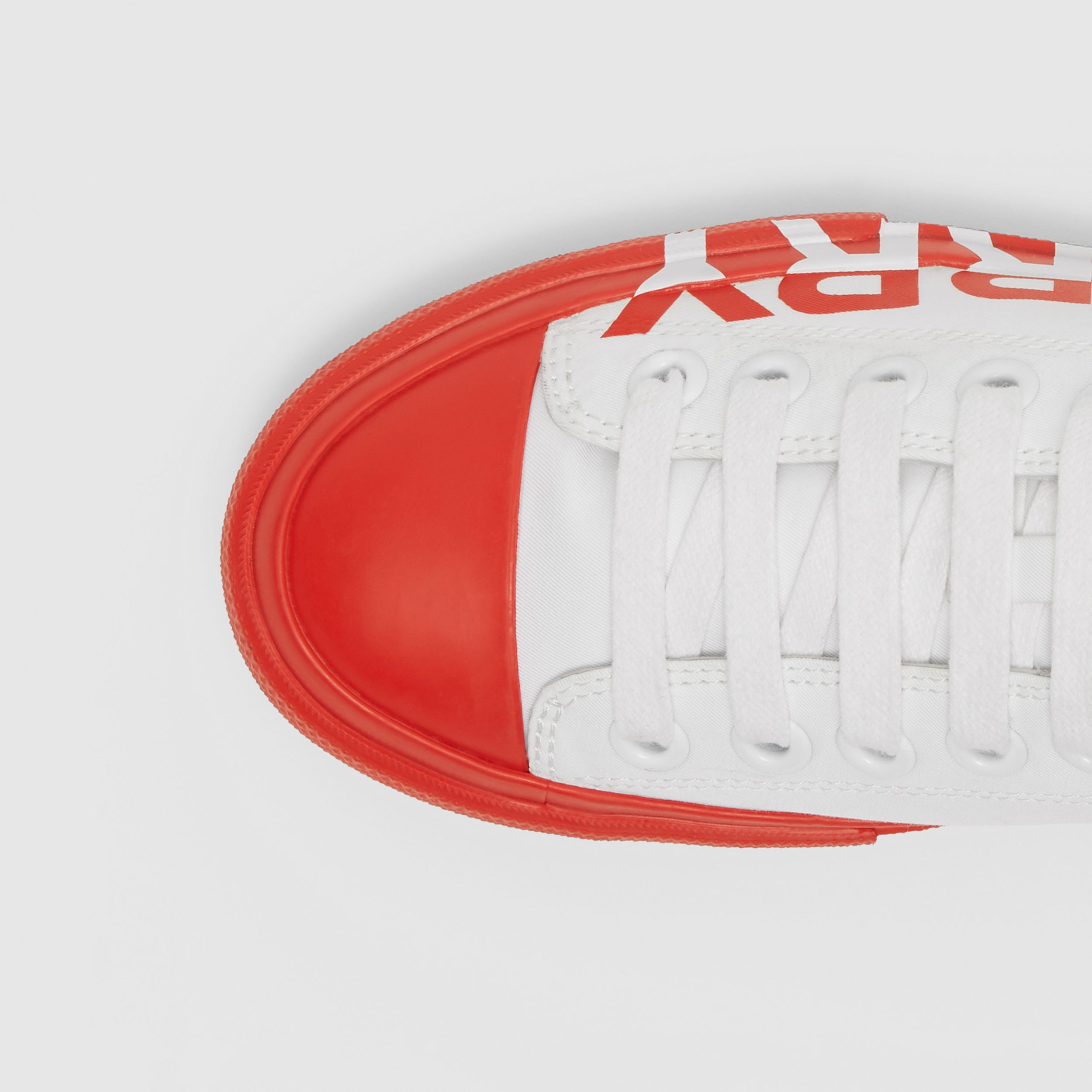 Logo Print Two-tone Cotton Gabardine Sneakers in Optic White/bright Red - Women | Burberry - 2