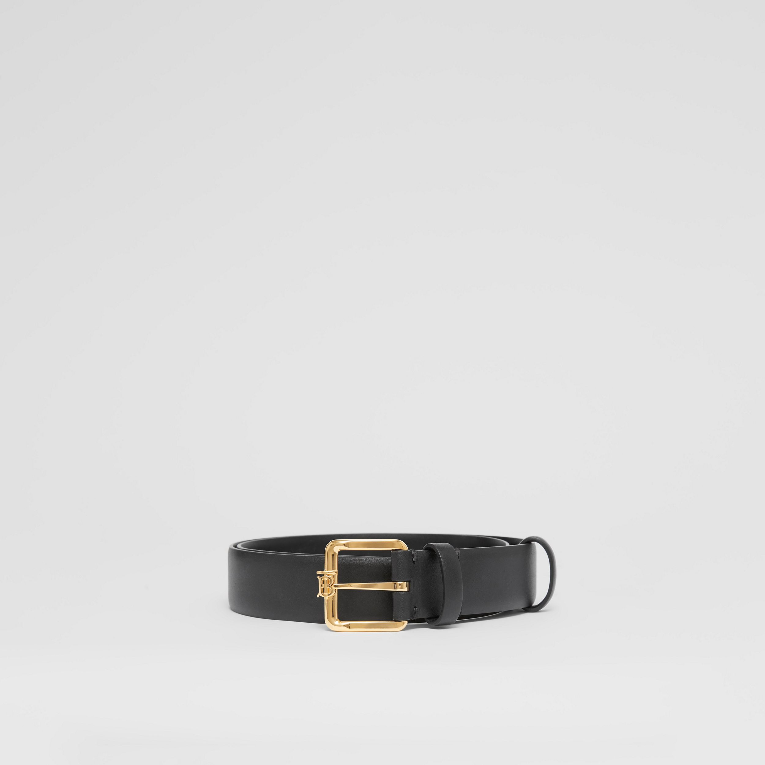 Monogram Motif Leather Belt in Black - Women | Burberry United Kingdom - 4