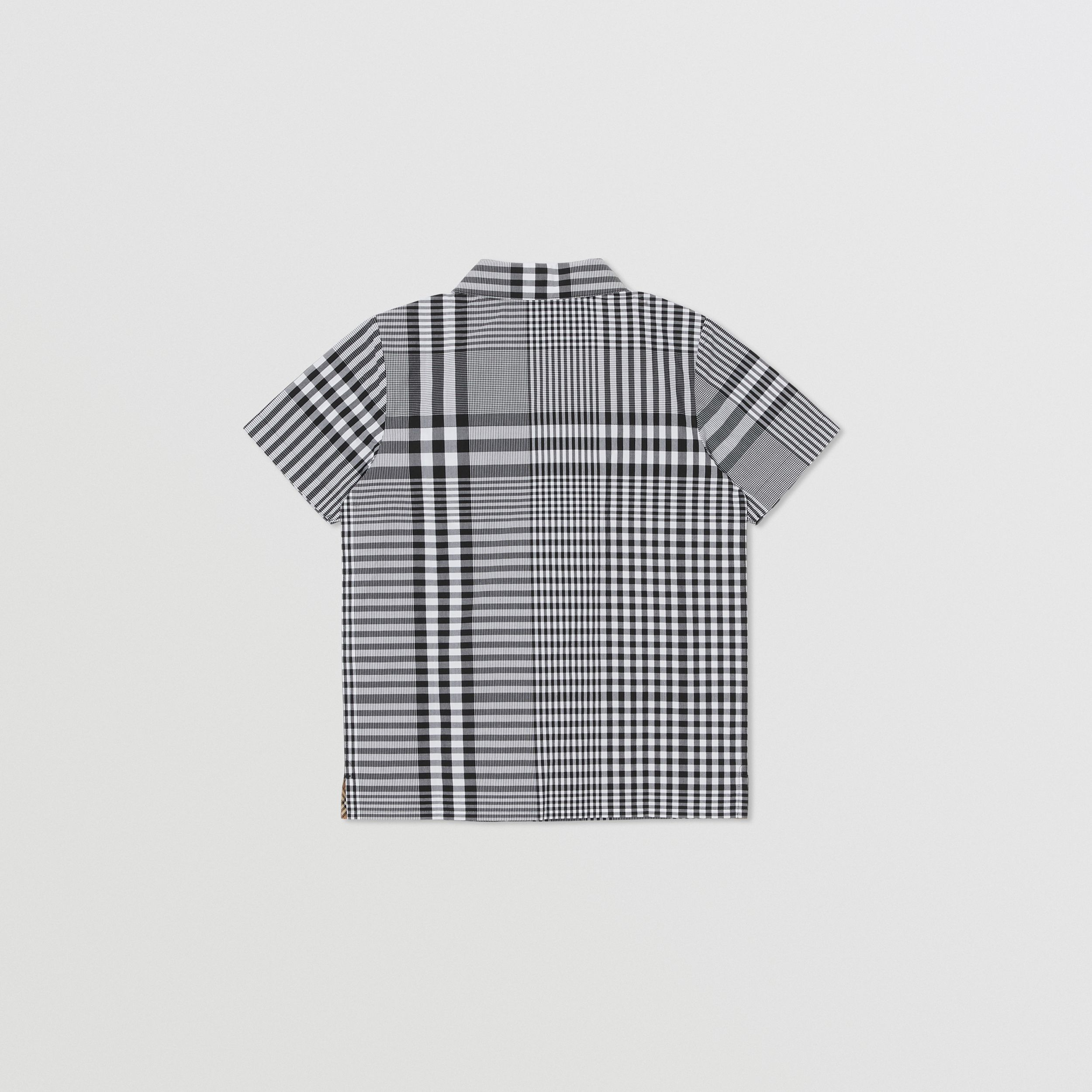 Short-sleeve Monogram Motif Check Cotton Shirt in Black | Burberry - 4