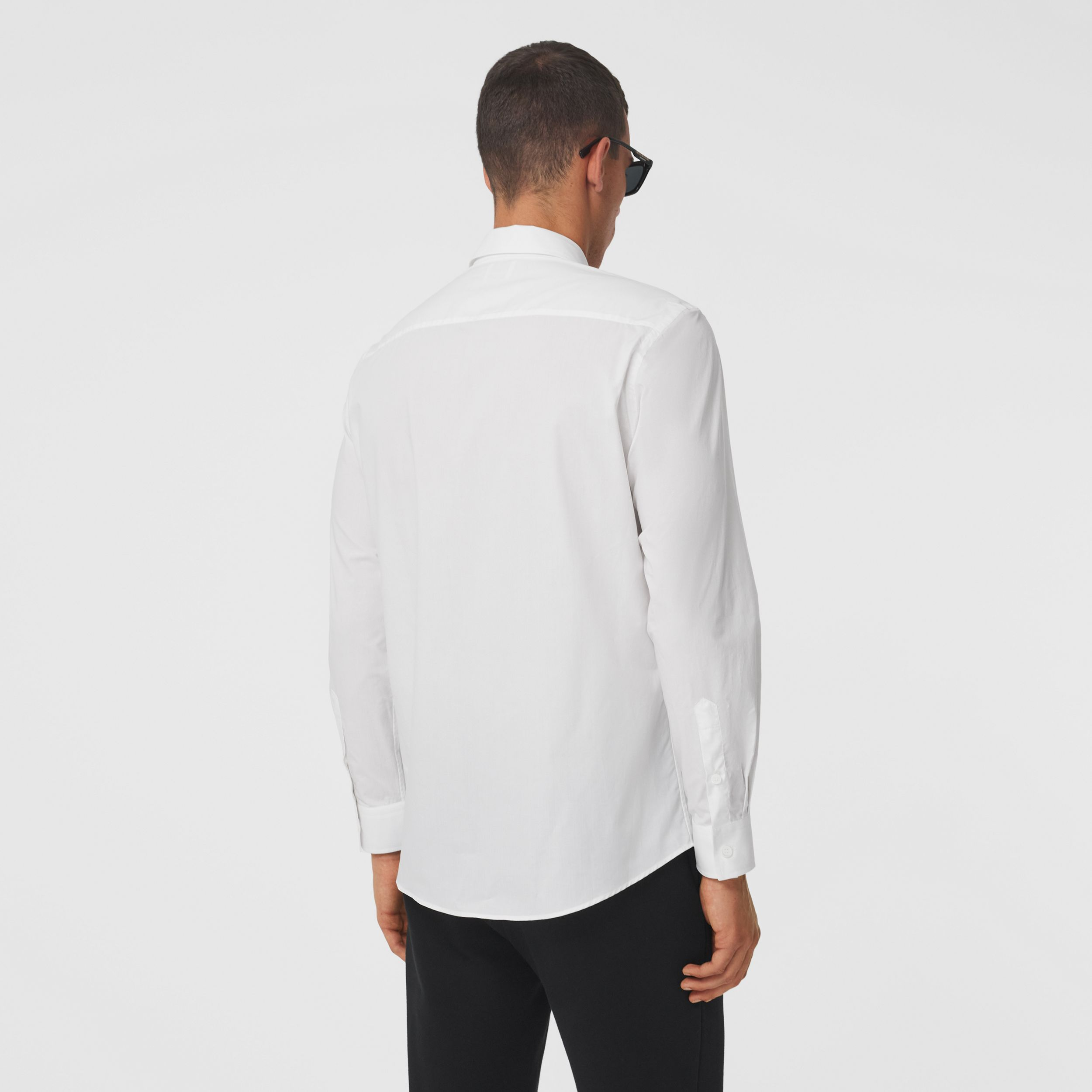 Logo Tape Cotton Shirt in White/black - Men | Burberry - 3