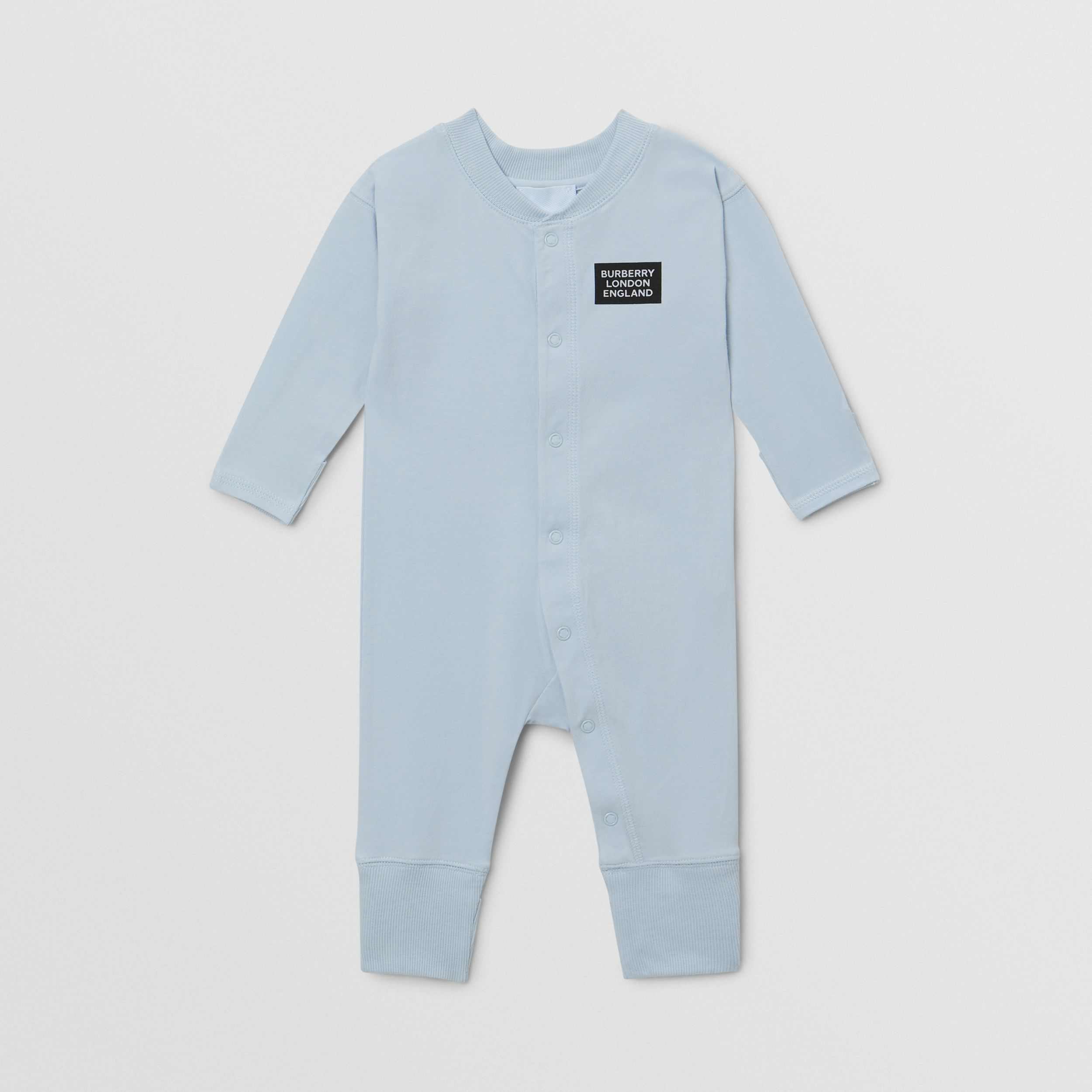 Check Trim Cotton Three-piece Baby Gift Set in Ice Blue - Children | Burberry - 2