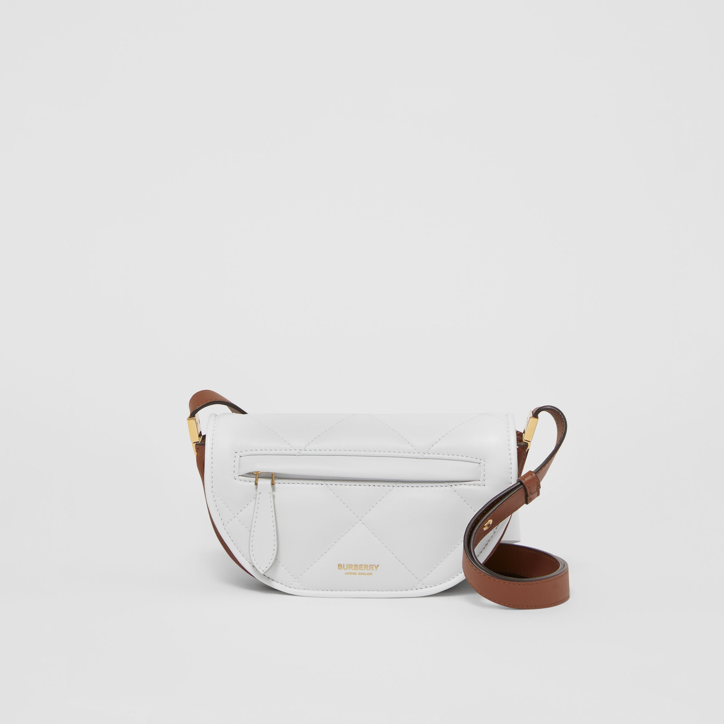 Mini Quilted Lambskin Olympia Bag in White/tan - Women | Burberry - 1