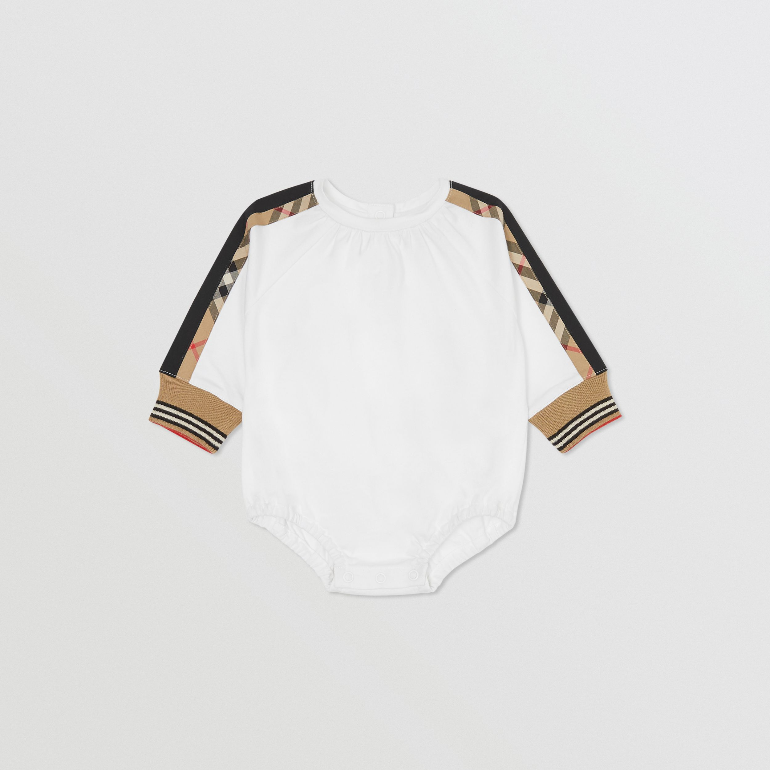 Vintage Check Detail Cotton Bodysuit in White - Children | Burberry - 3