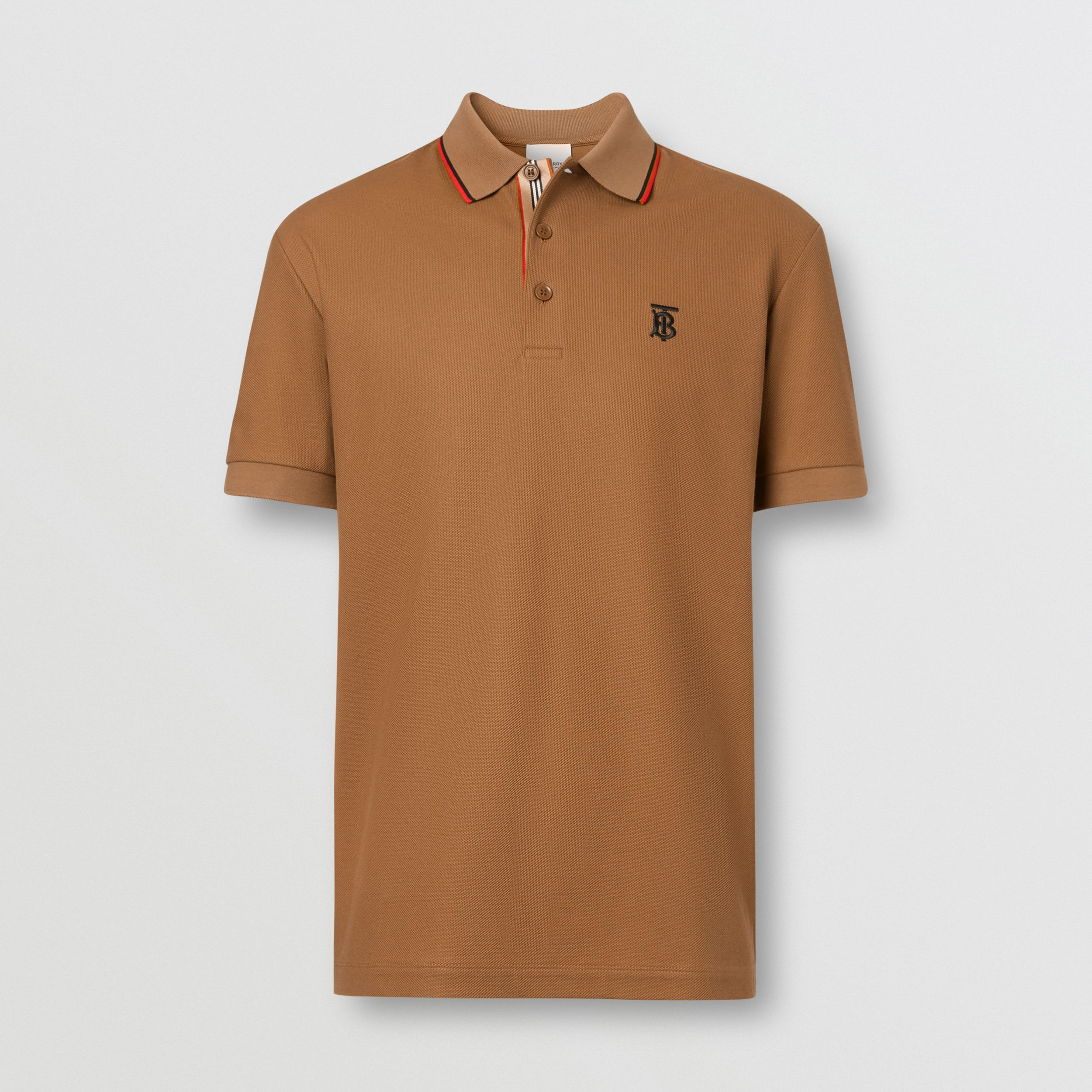 Monogram Motif Cotton Piqué Polo Shirt in Warm Brown - Men | Burberry - 3