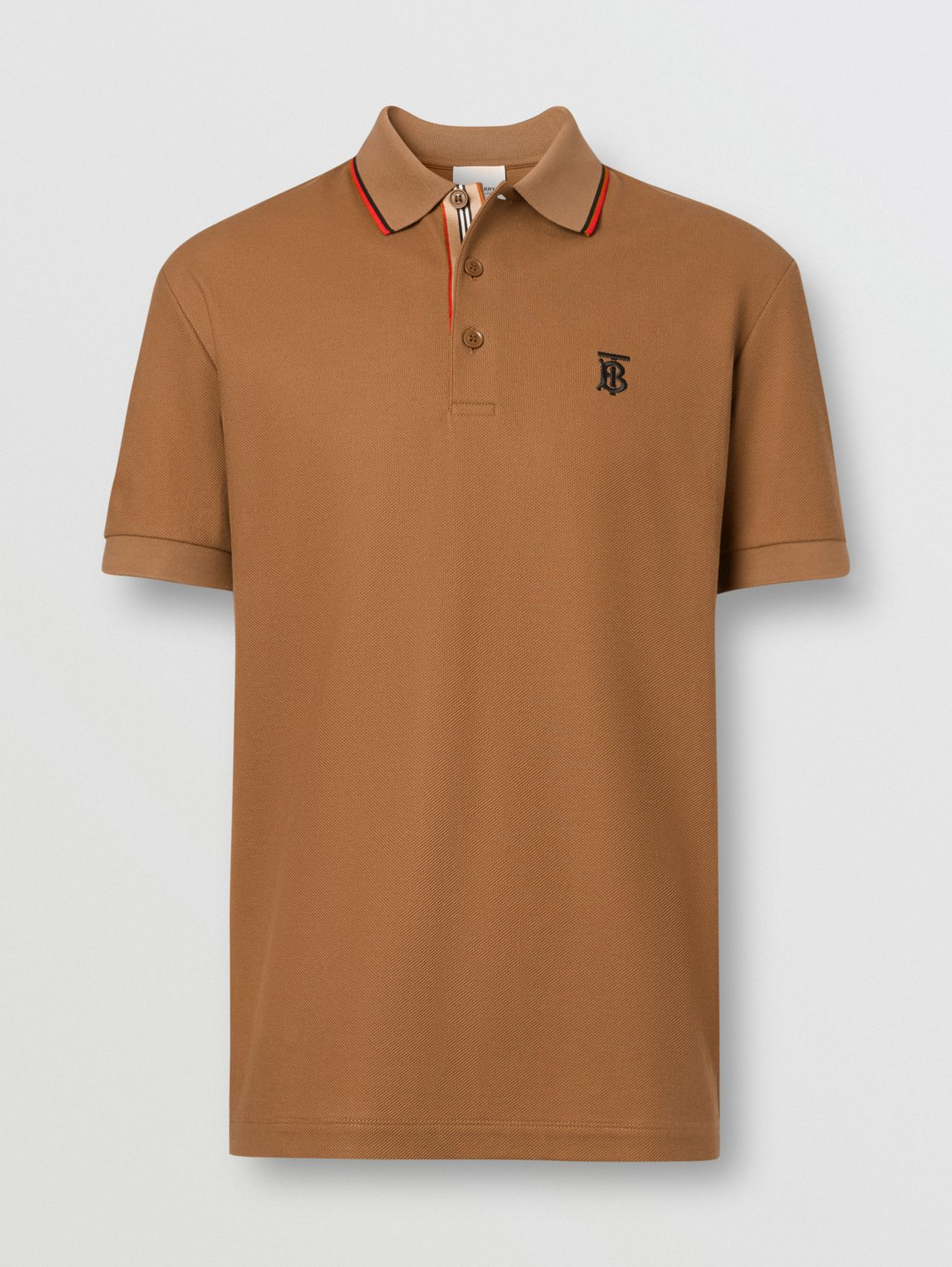 Monogram Motif Cotton Piqué Polo Shirt in Warm Brown