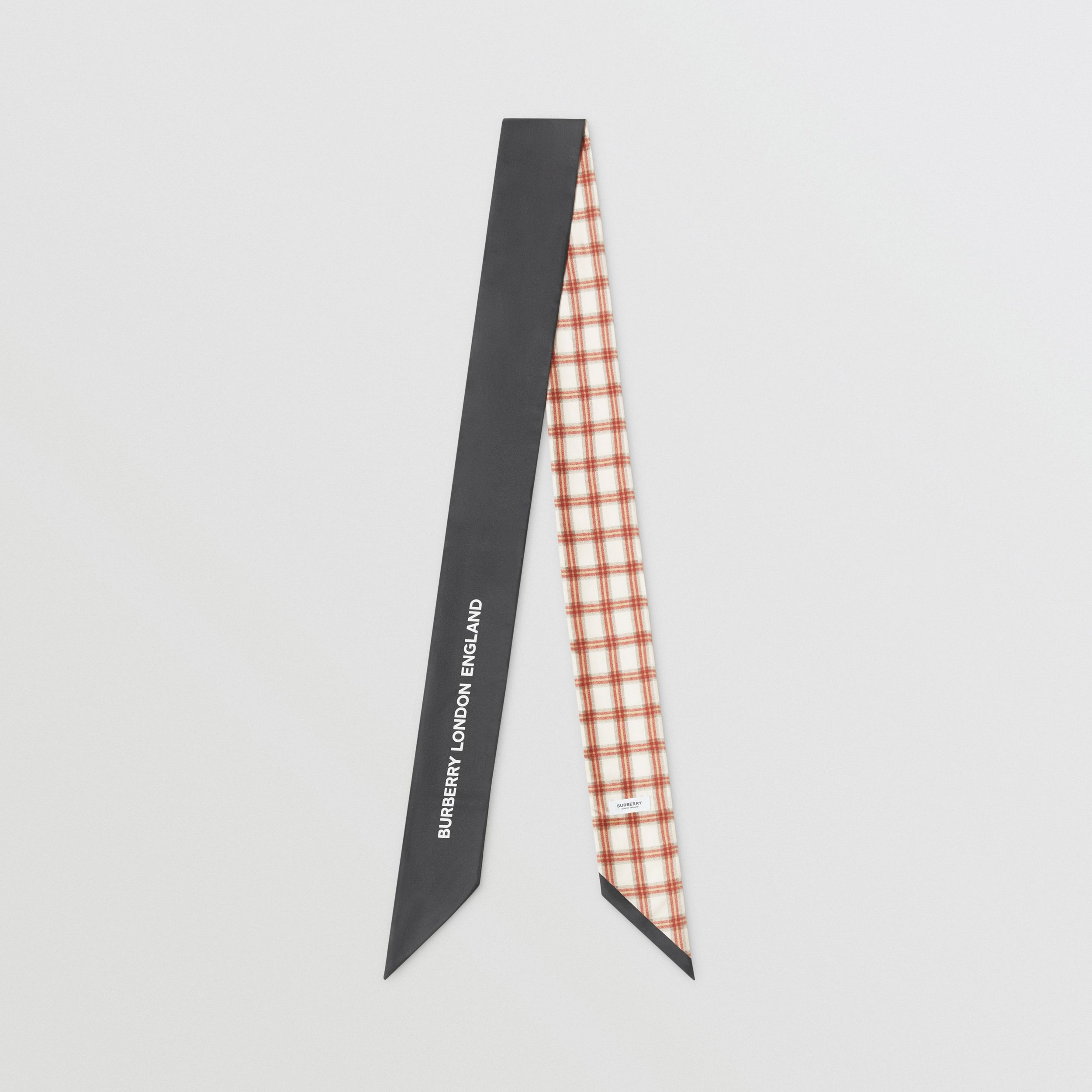 Check and Logo Print Silk Skinny Scarf in Grey Charcoal | Burberry - 1