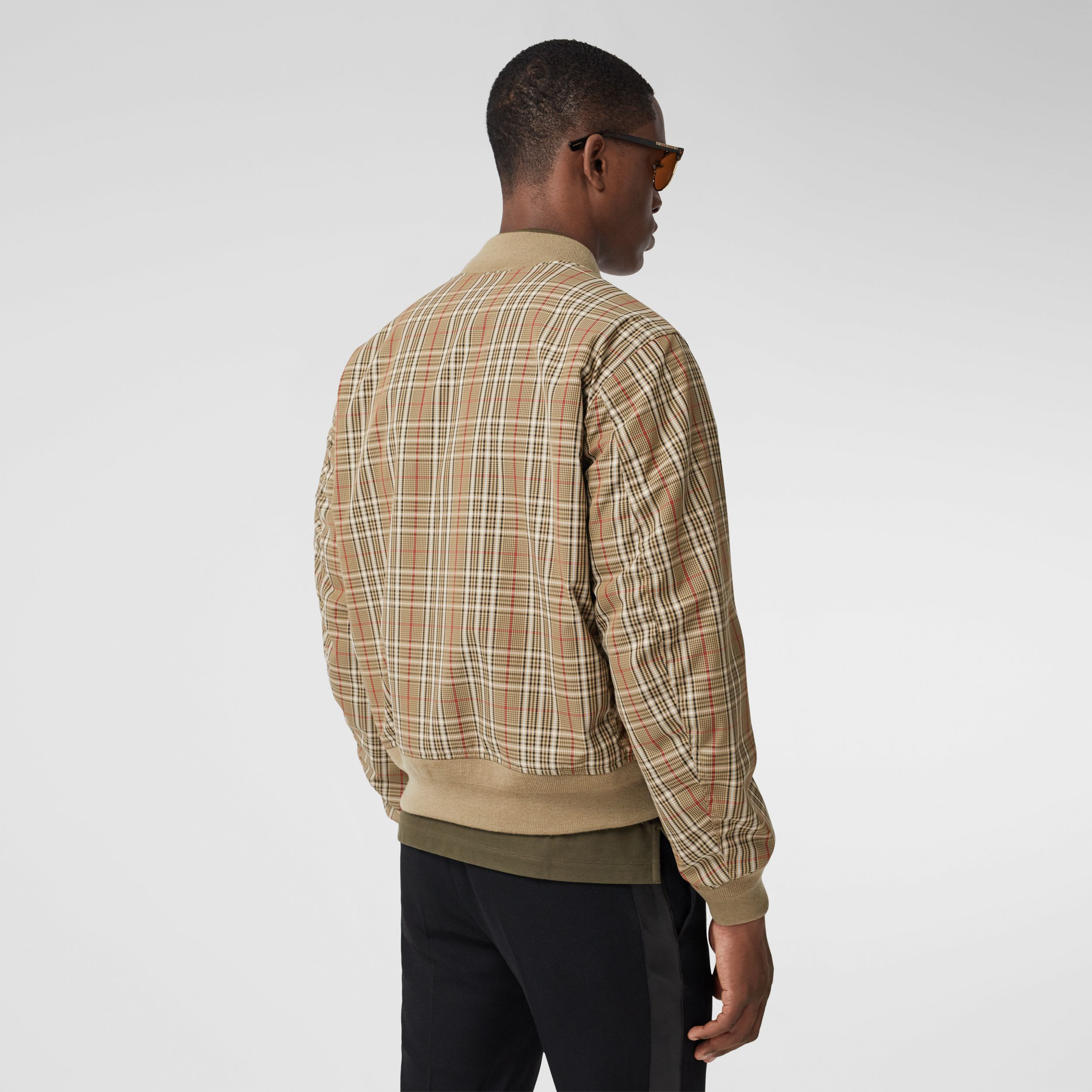 Reversible Check Technical Cotton Bomber Jacket in Soft Fawn - Men | Burberry - 3