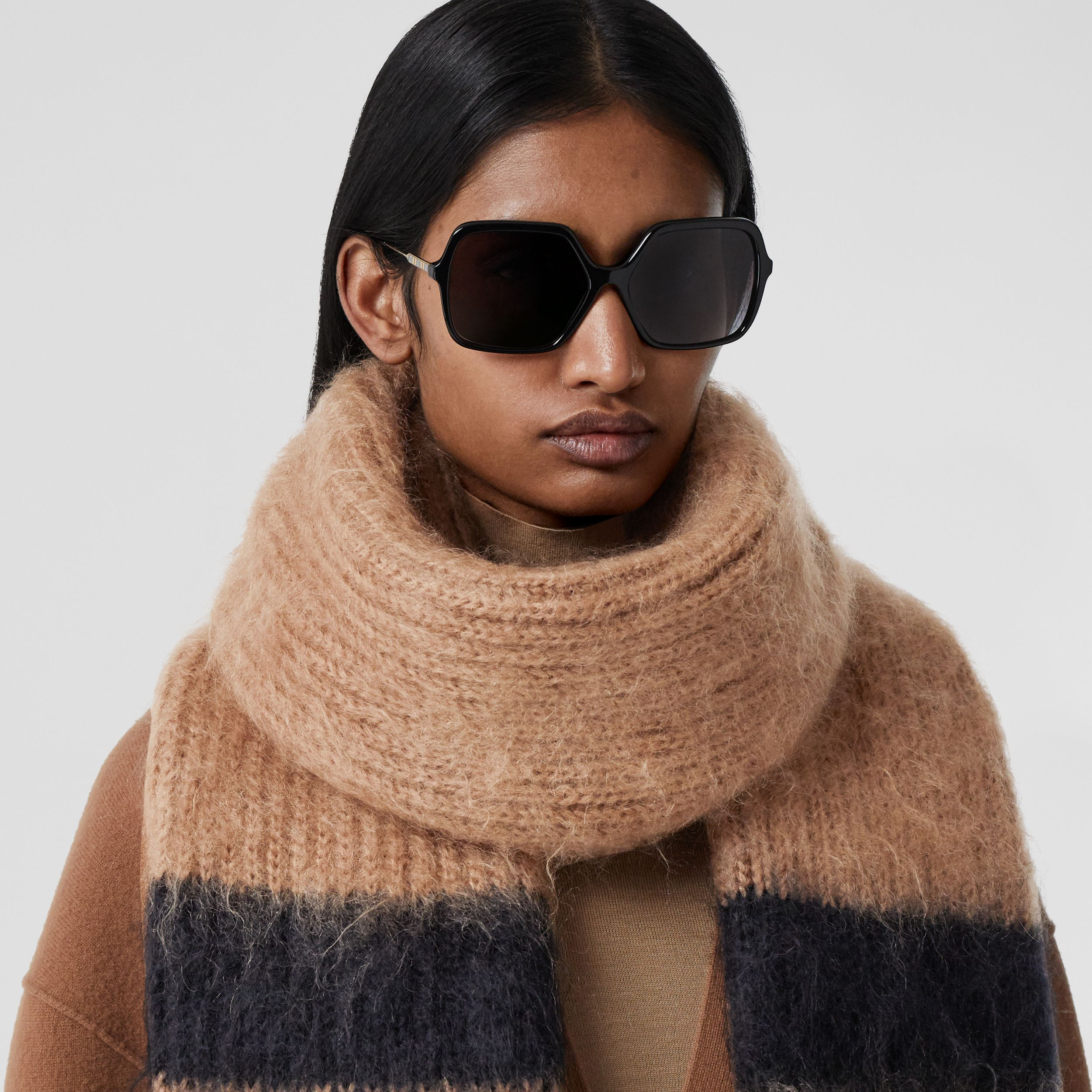 Striped Knitted Mohair Silk Scarf in Warm Camel | Burberry Australia - 3