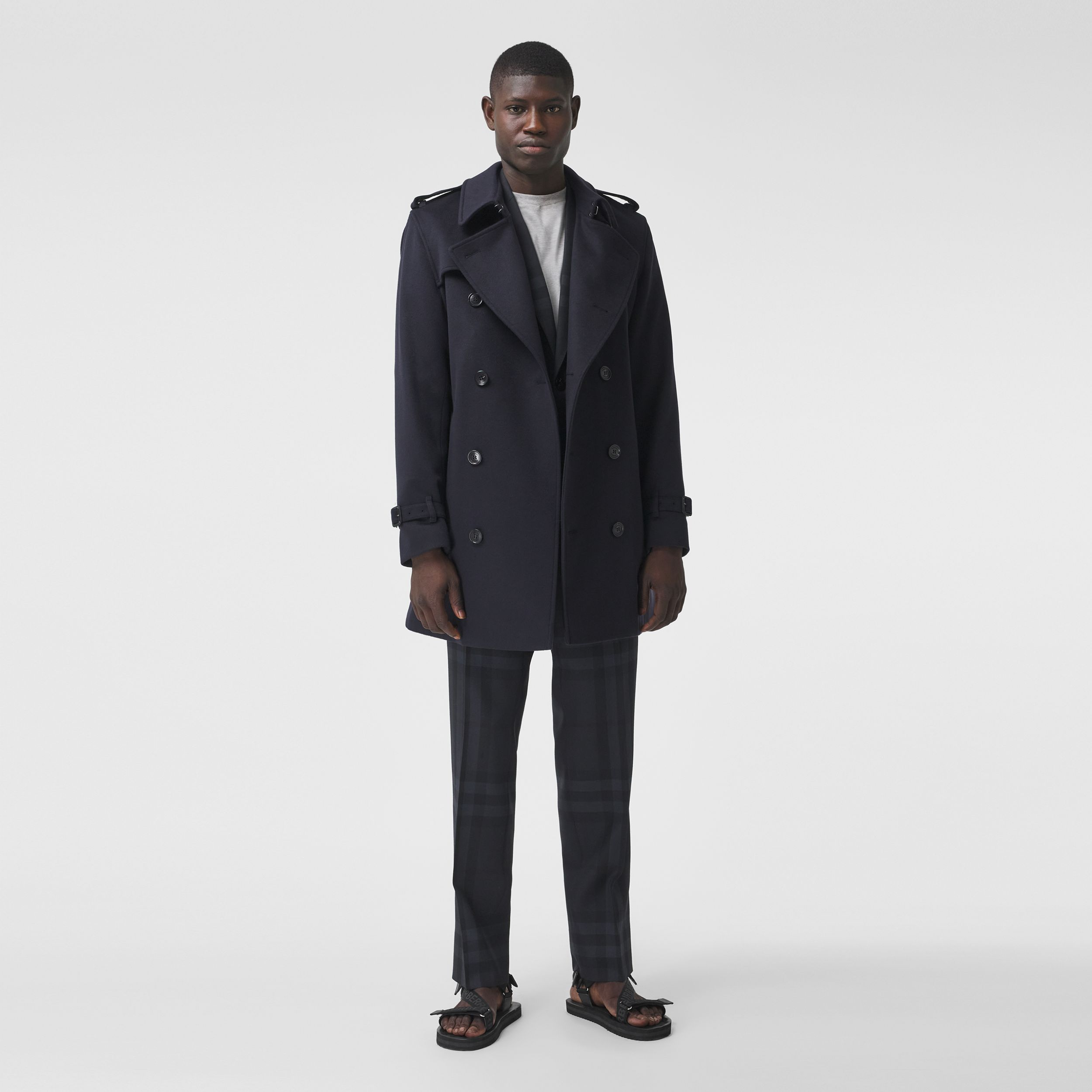 Wool Cashmere Trench Coat in Navy - Men | Burberry Australia - 1
