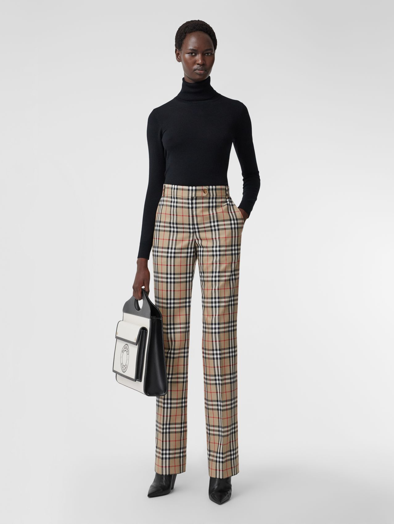 Vintage Check Wool Tailored Trousers in Archive Beige