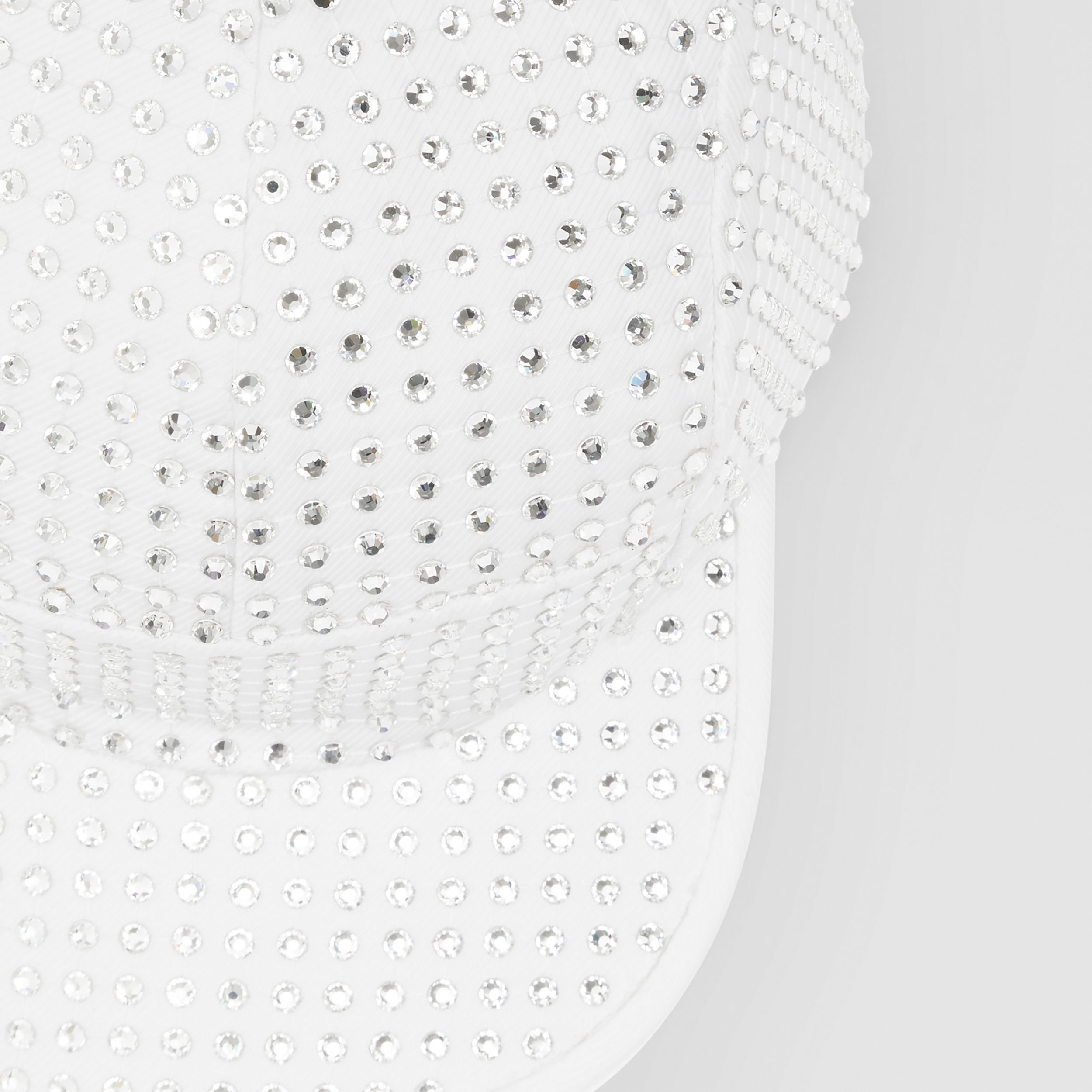 Crystal Mesh Detail Cotton Twill Cap in Optic White | Burberry Canada - 2