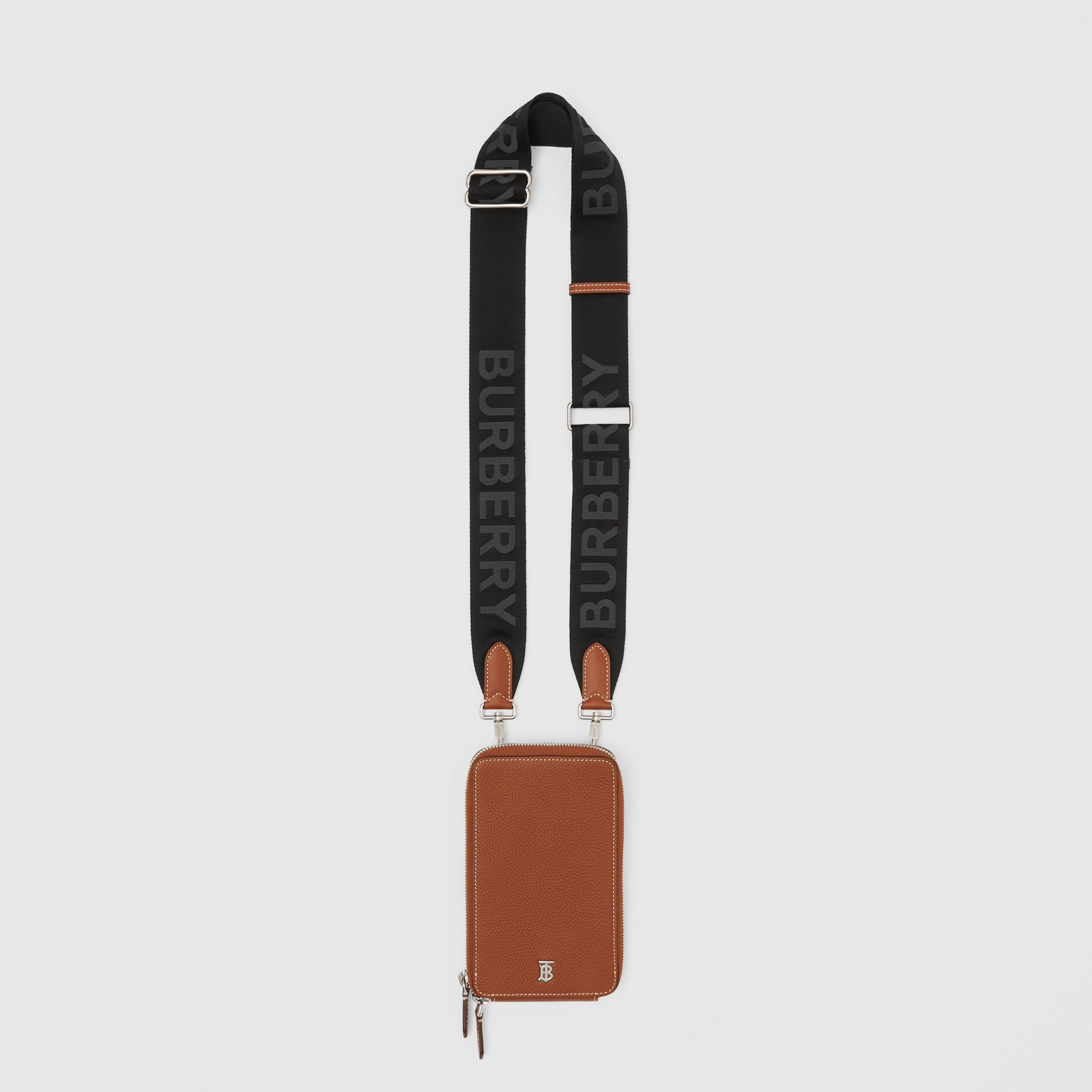 Grainy Leather Phone Case with Detachable Strap in Tan - Men | Burberry - 1