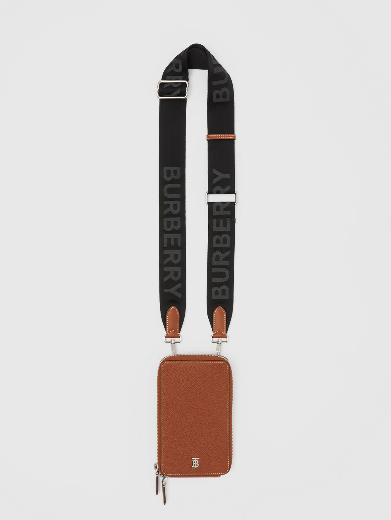 Grainy Leather Phone Case with Detachable Strap in Tan