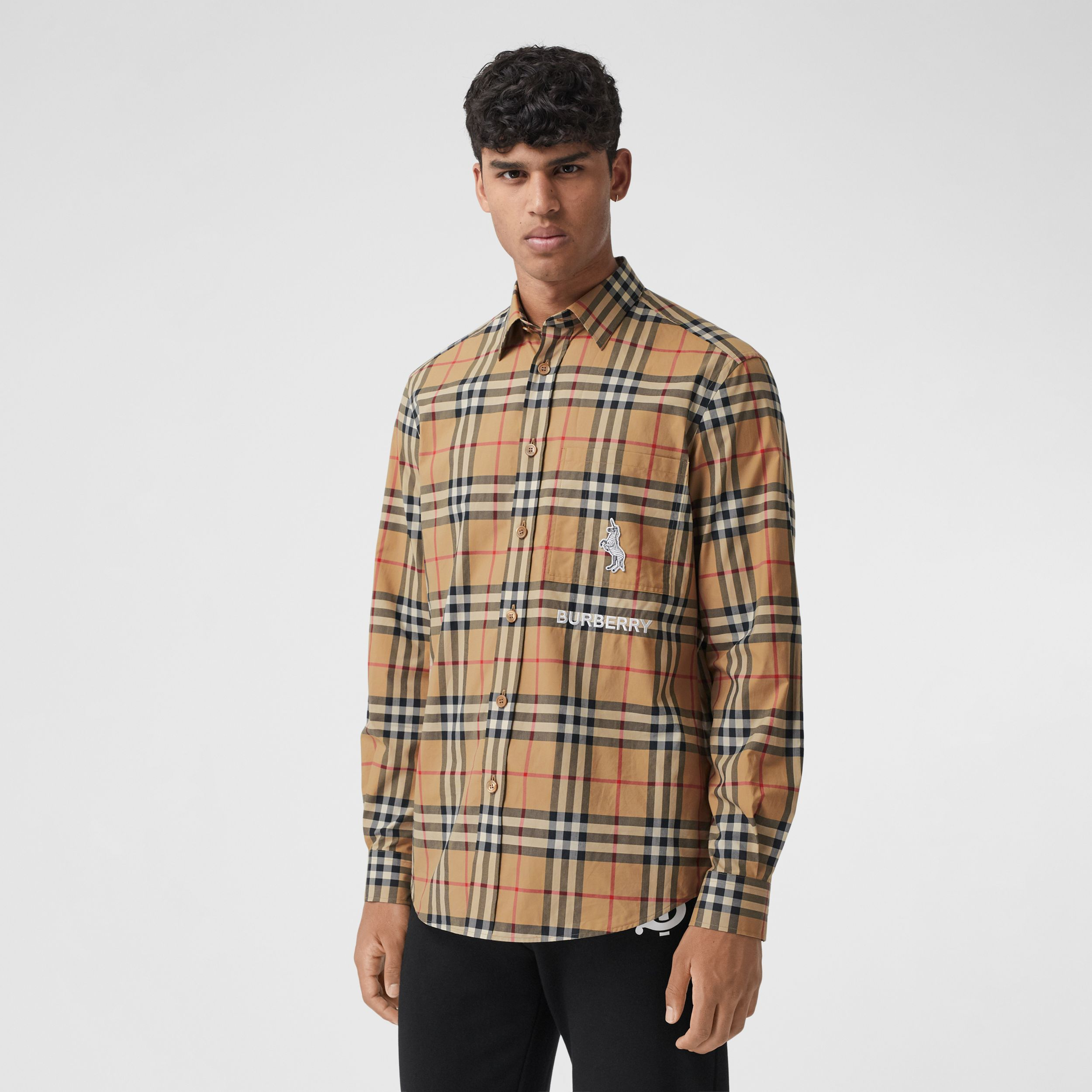 Classic Fit Zebra Appliqué Check Cotton Shirt in Archive Beige - Men | Burberry - 1