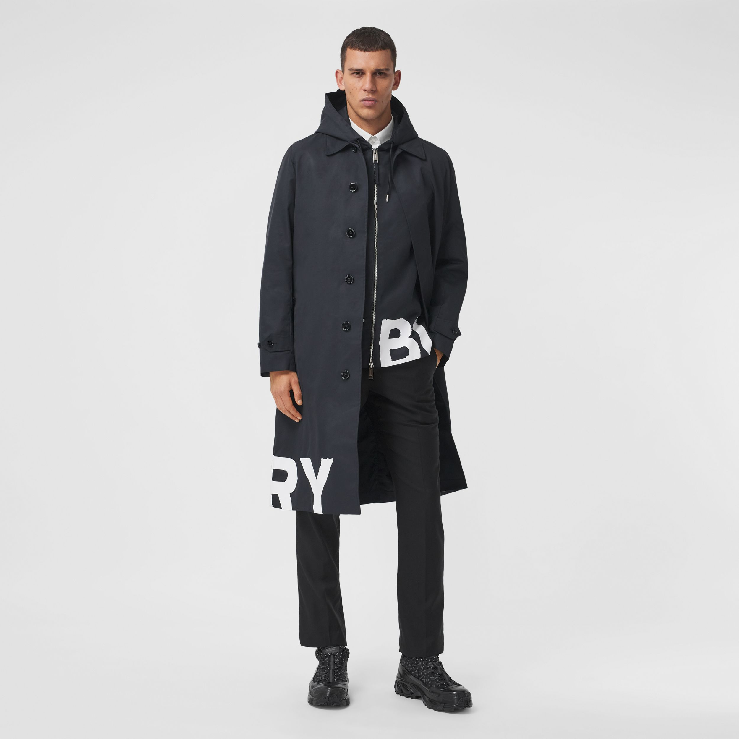 Logo Print Nylon Car Coat in Black - Men | Burberry - 1