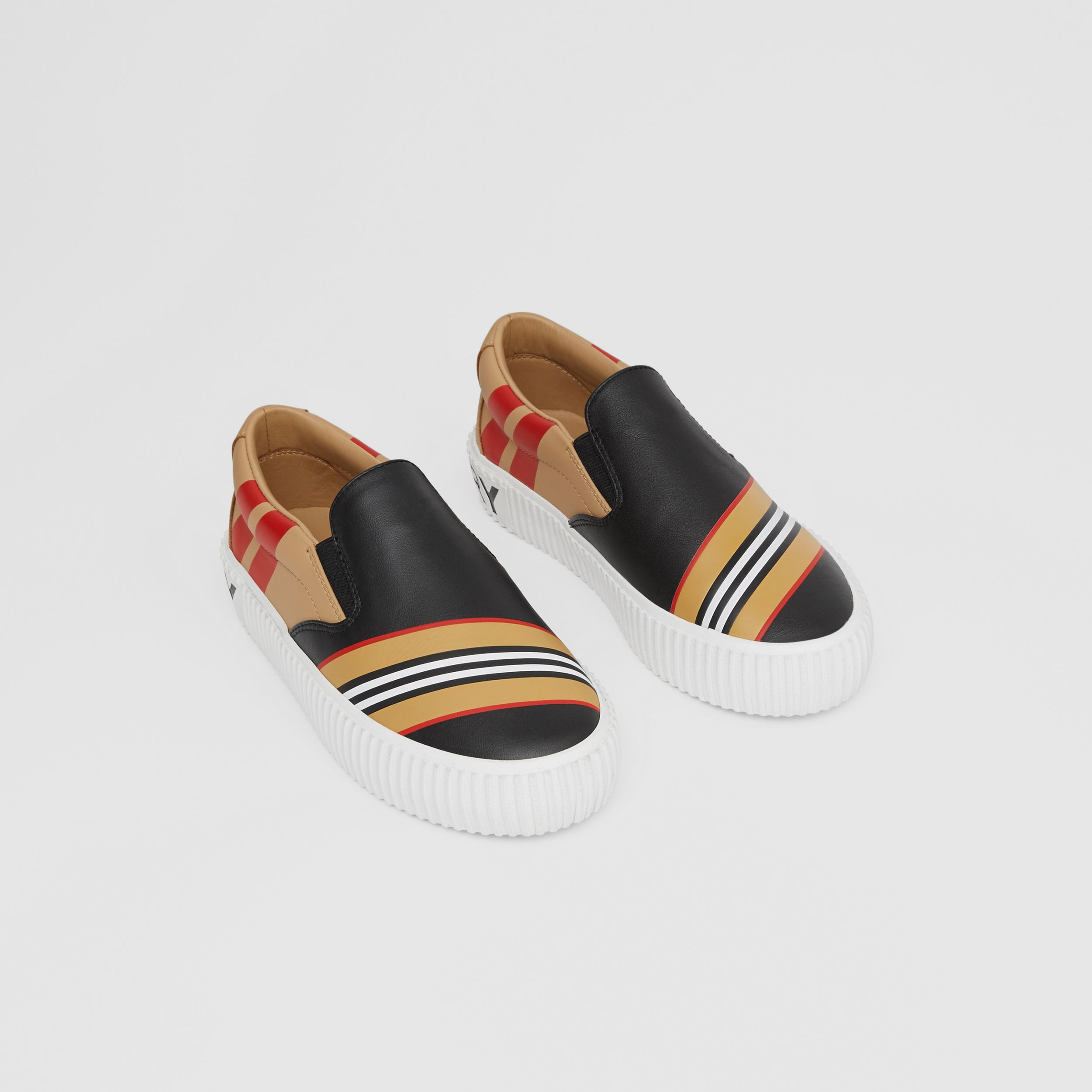 Icon Stripe Print Leather Slip-on Sneakers in Black - Children | Burberry - 1