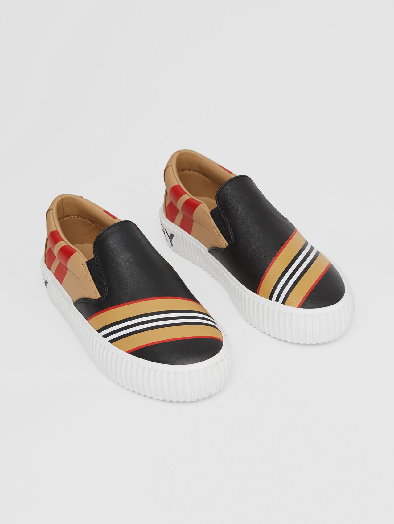 Icon Stripe Print Leather Slip-on Sneakers in Black