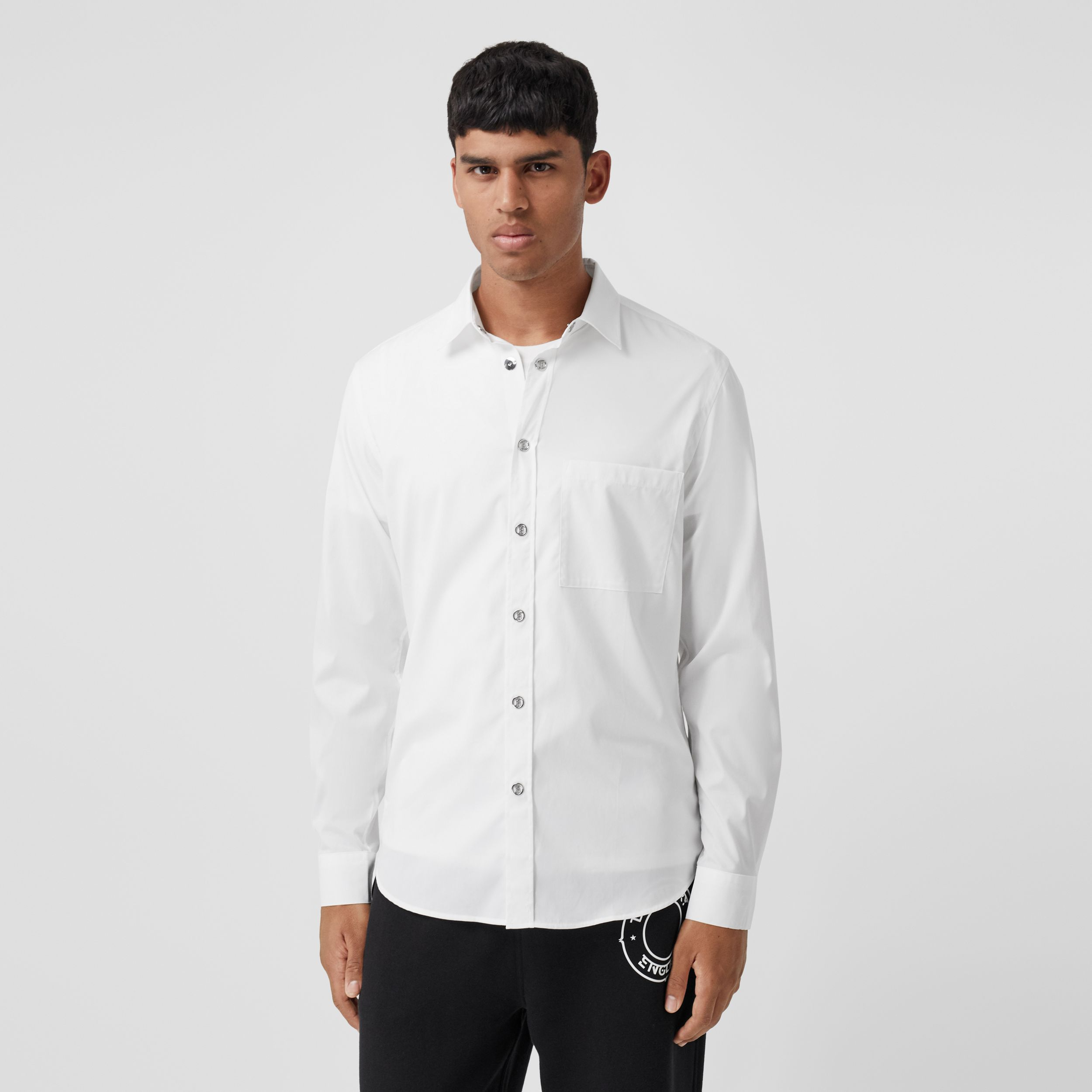 Monogram Motif Stretch Cotton Shirt in White - Men | Burberry - 1