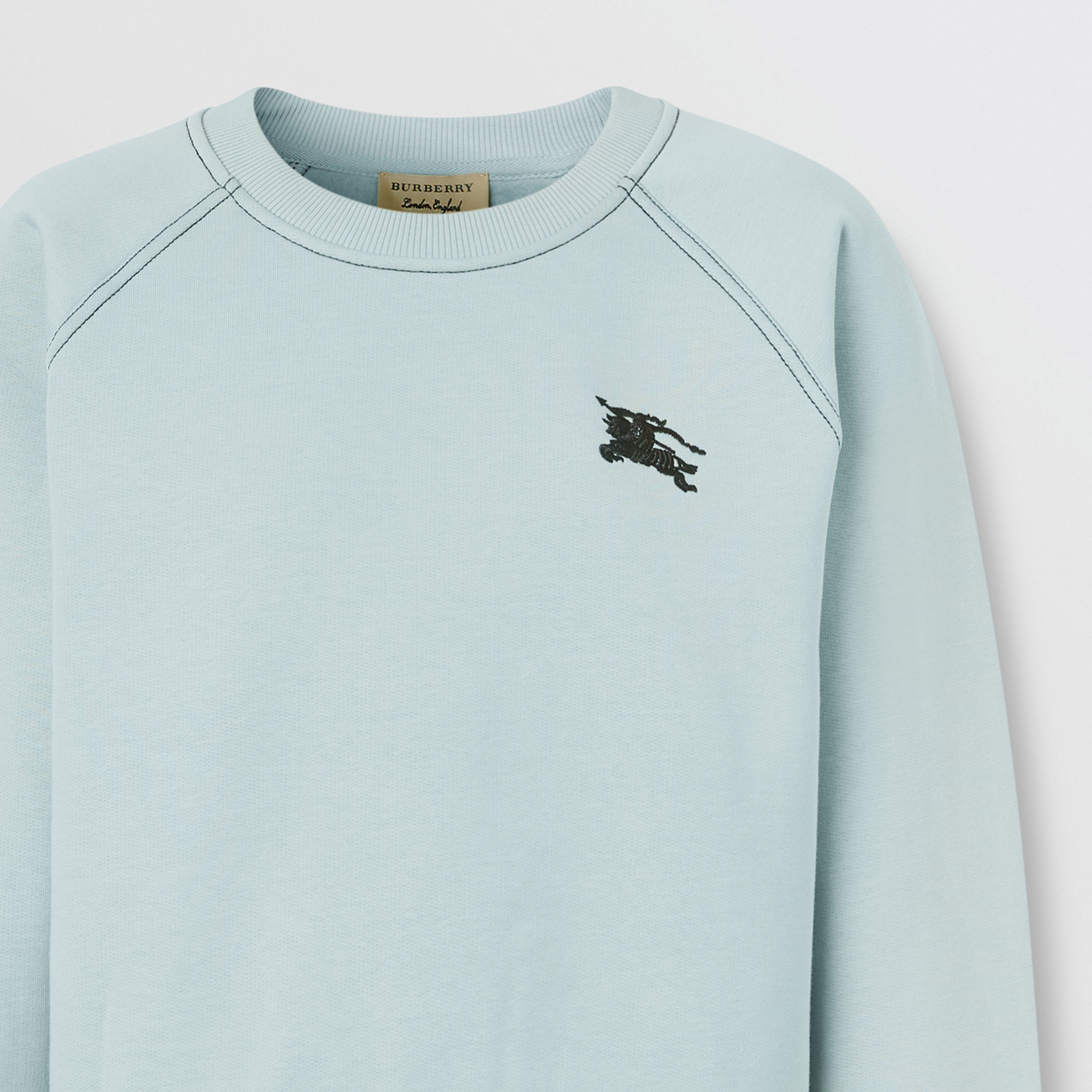 Embroidered EKD Jersey Sweatshirt in Pale Mineral Blue - Women | Burberry - 2