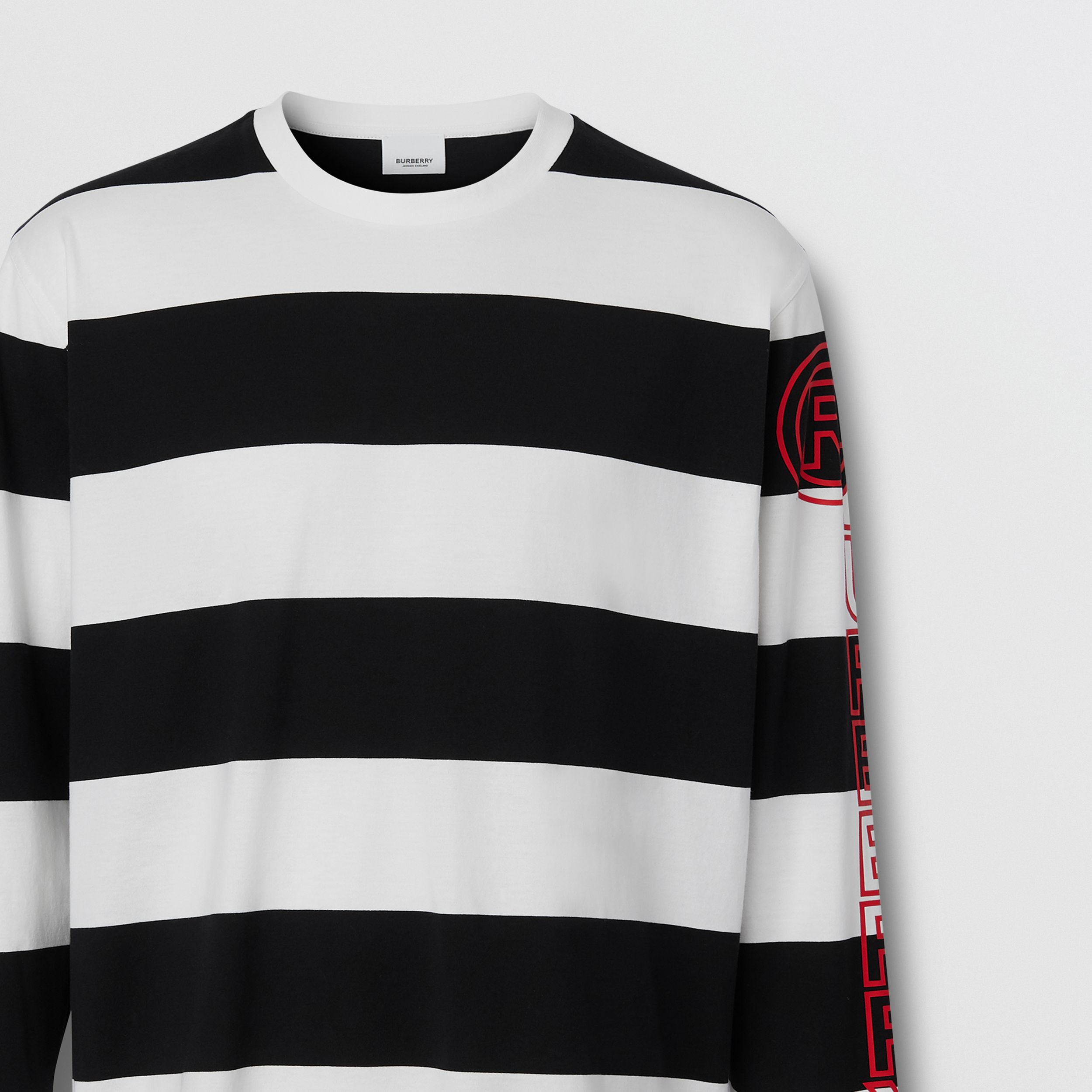 Long-sleeve Striped Cotton Oversized Top in Black/white - Men | Burberry - 3