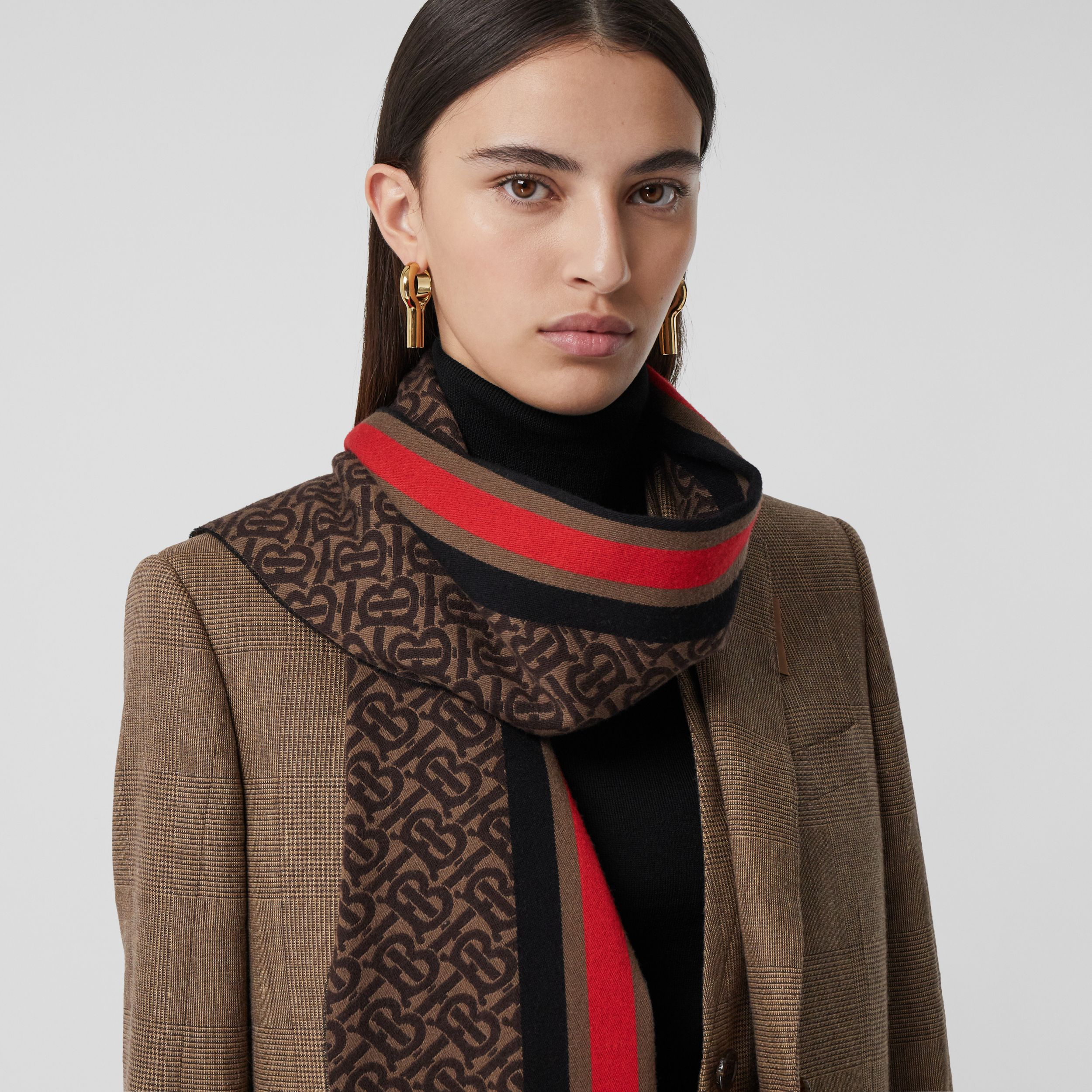 Striped Monogram Wool Cotton Jacquard Scarf in Bridle Brown | Burberry Canada - 3