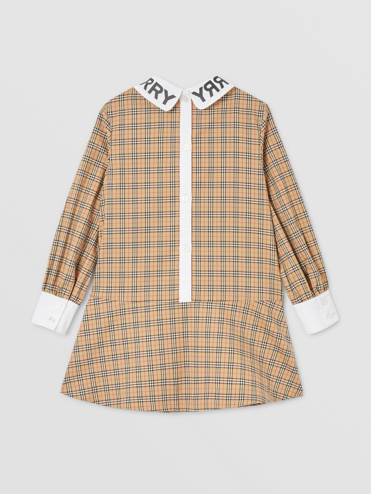 Logo Print Collar Check Stretch Cotton Dress in Archive Beige