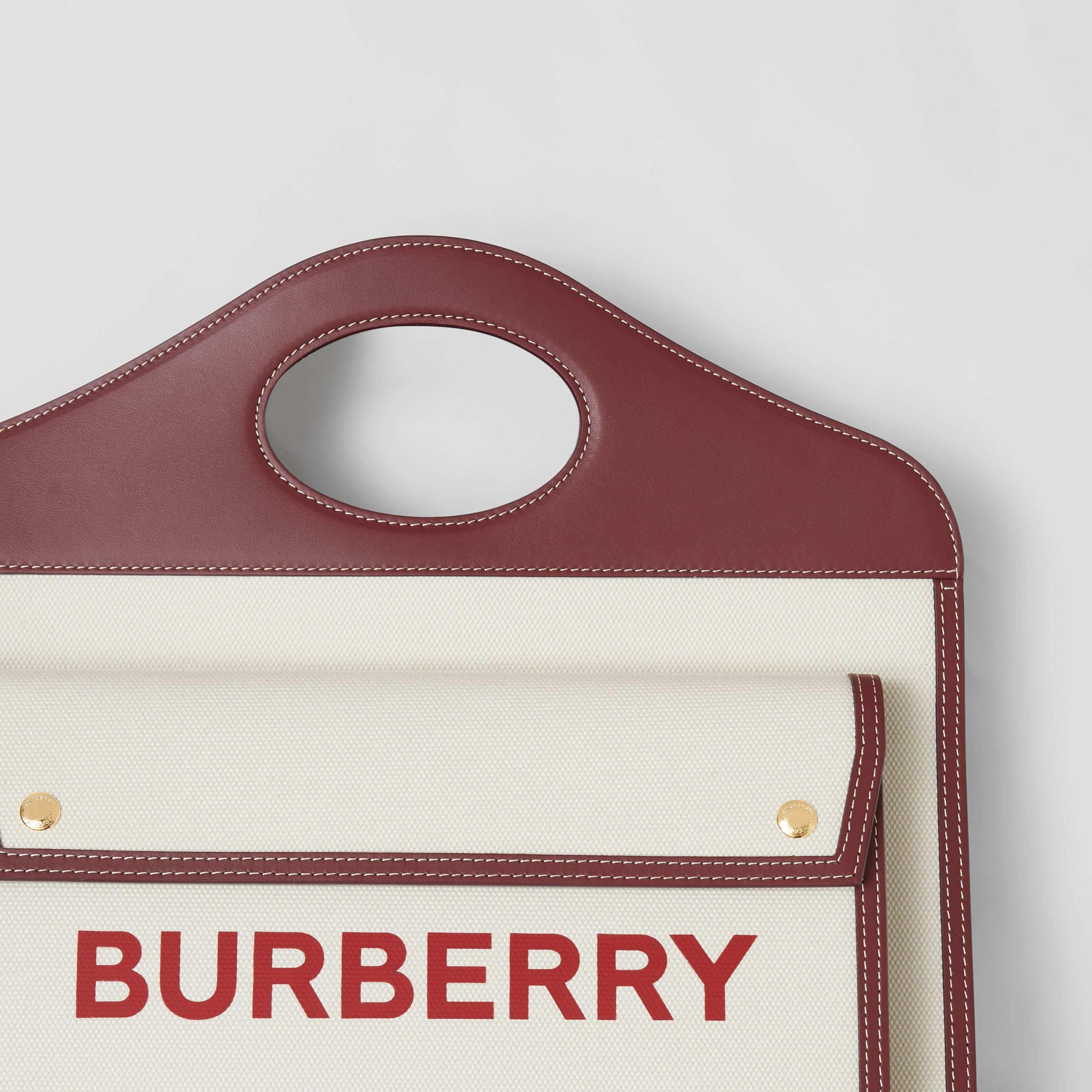 Medium Two-tone Canvas and Leather Pocket Bag in Natural/garnet - Women | Burberry - 2