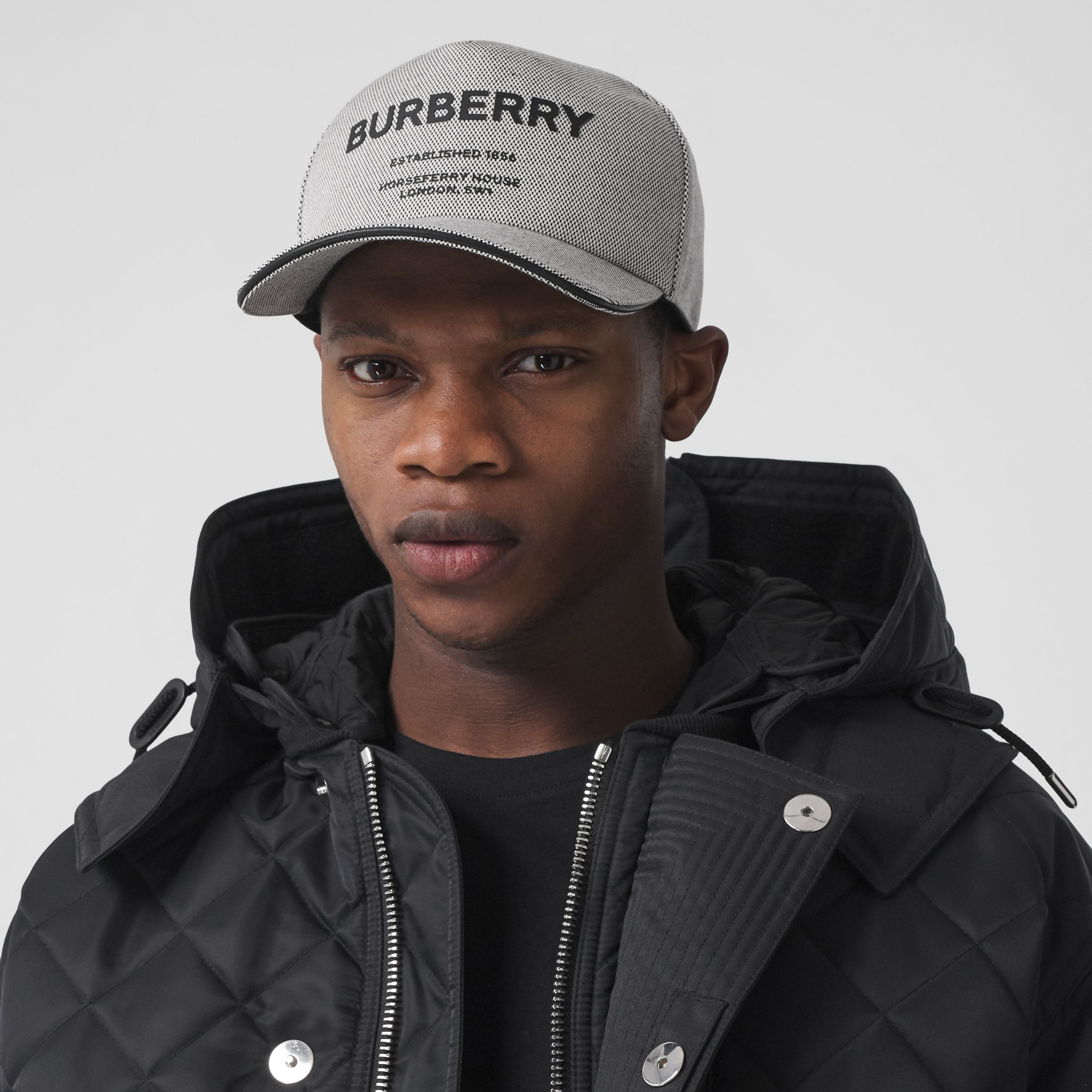Horseferry Print Cotton Canvas Baseball Cap in Black/white | Burberry - 3